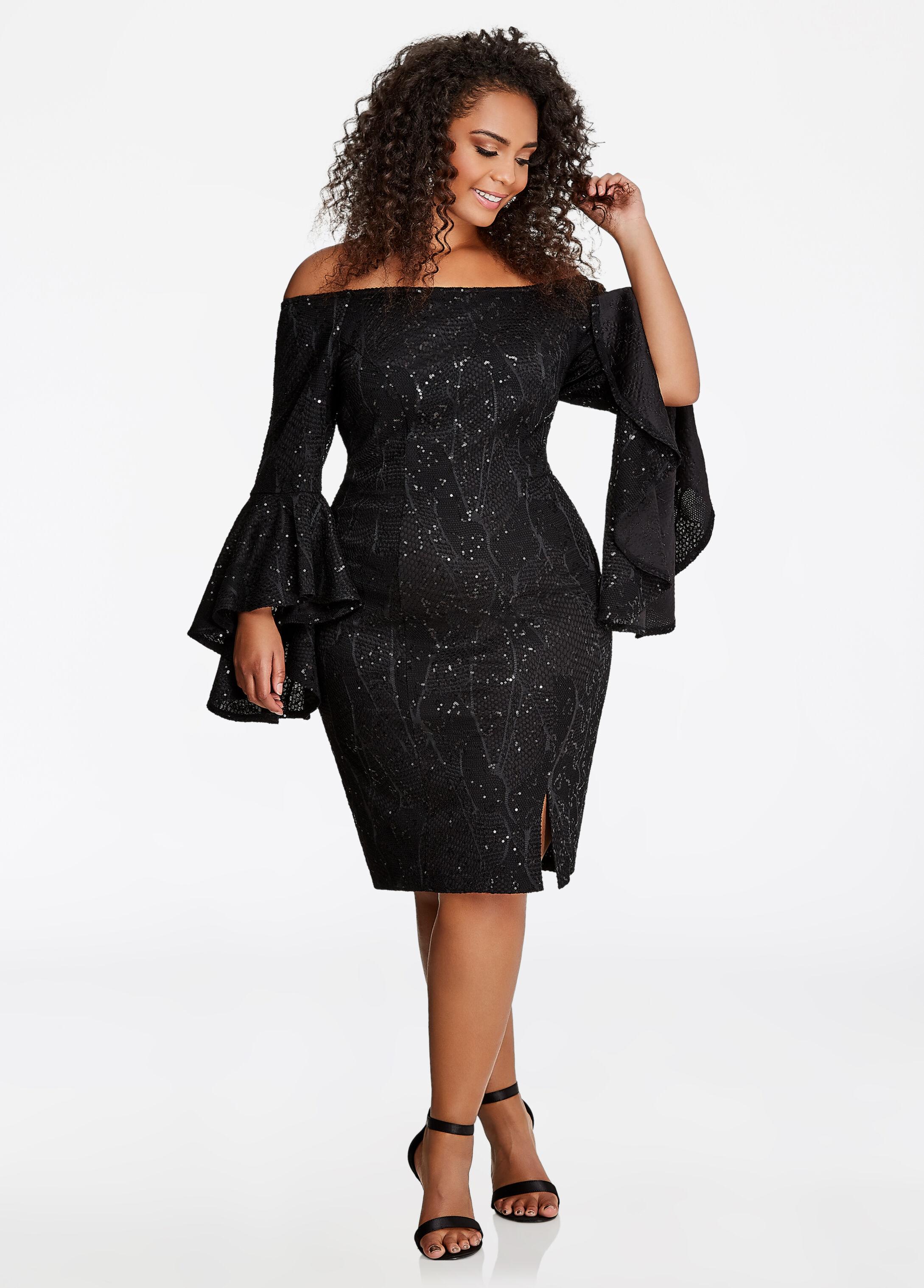 Off-the-Shoulder Sequin Lace Dress