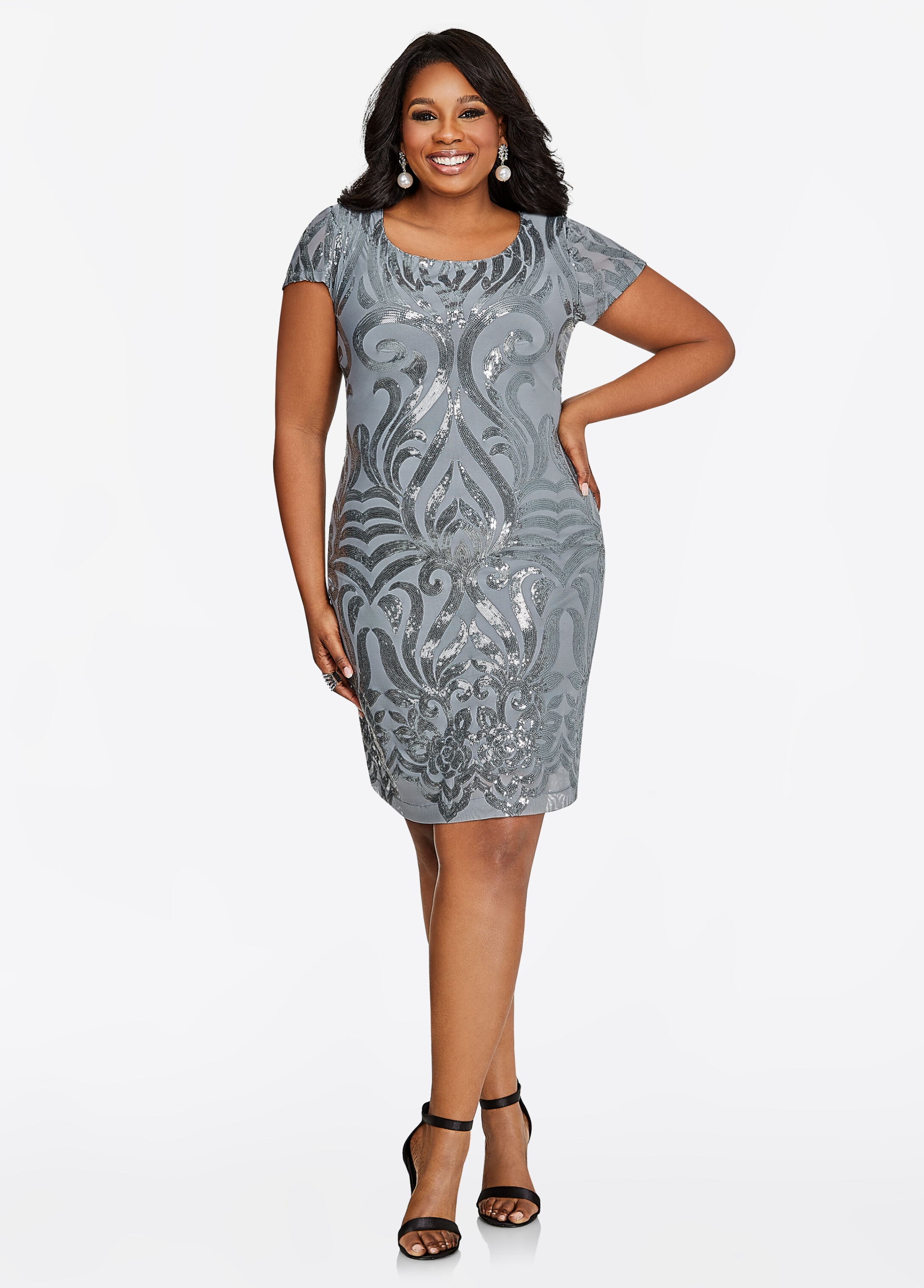 PLUS SIZE - Short Sleeve Filigree Sequin Dress / ShapDaBelize