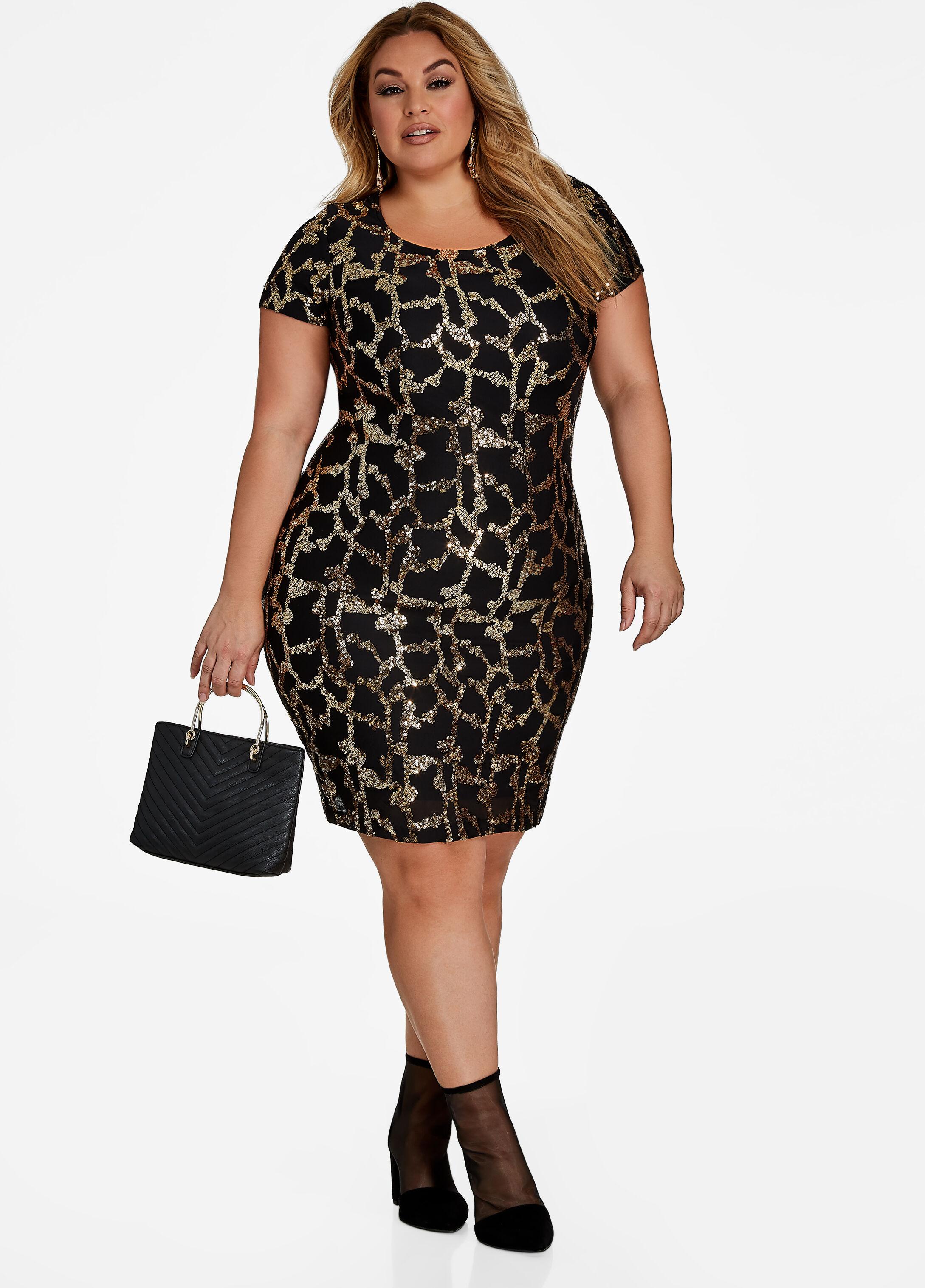 Sequin Animal Pattern Bodycon Dress