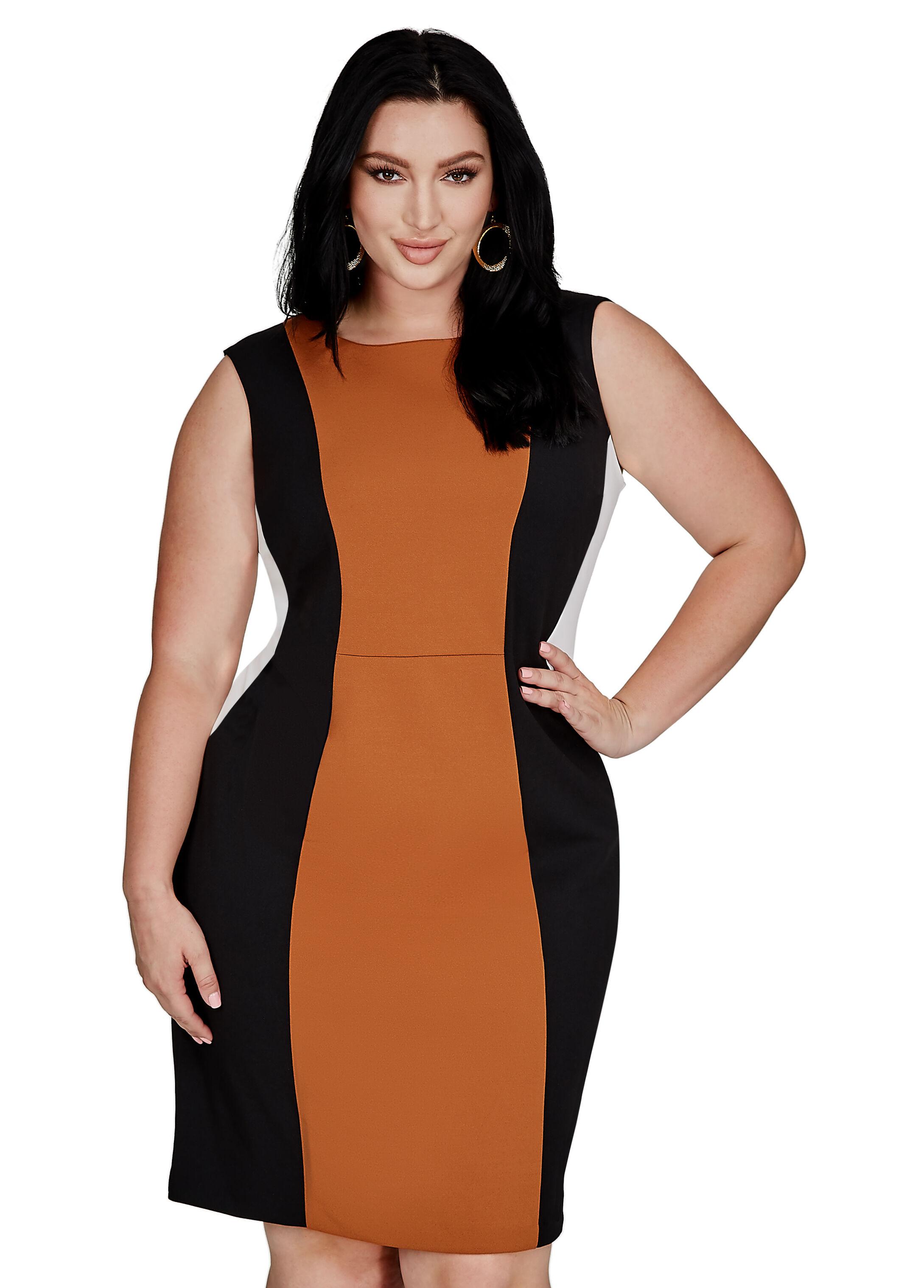 Tri-Tone Colorblock Sheath Dress