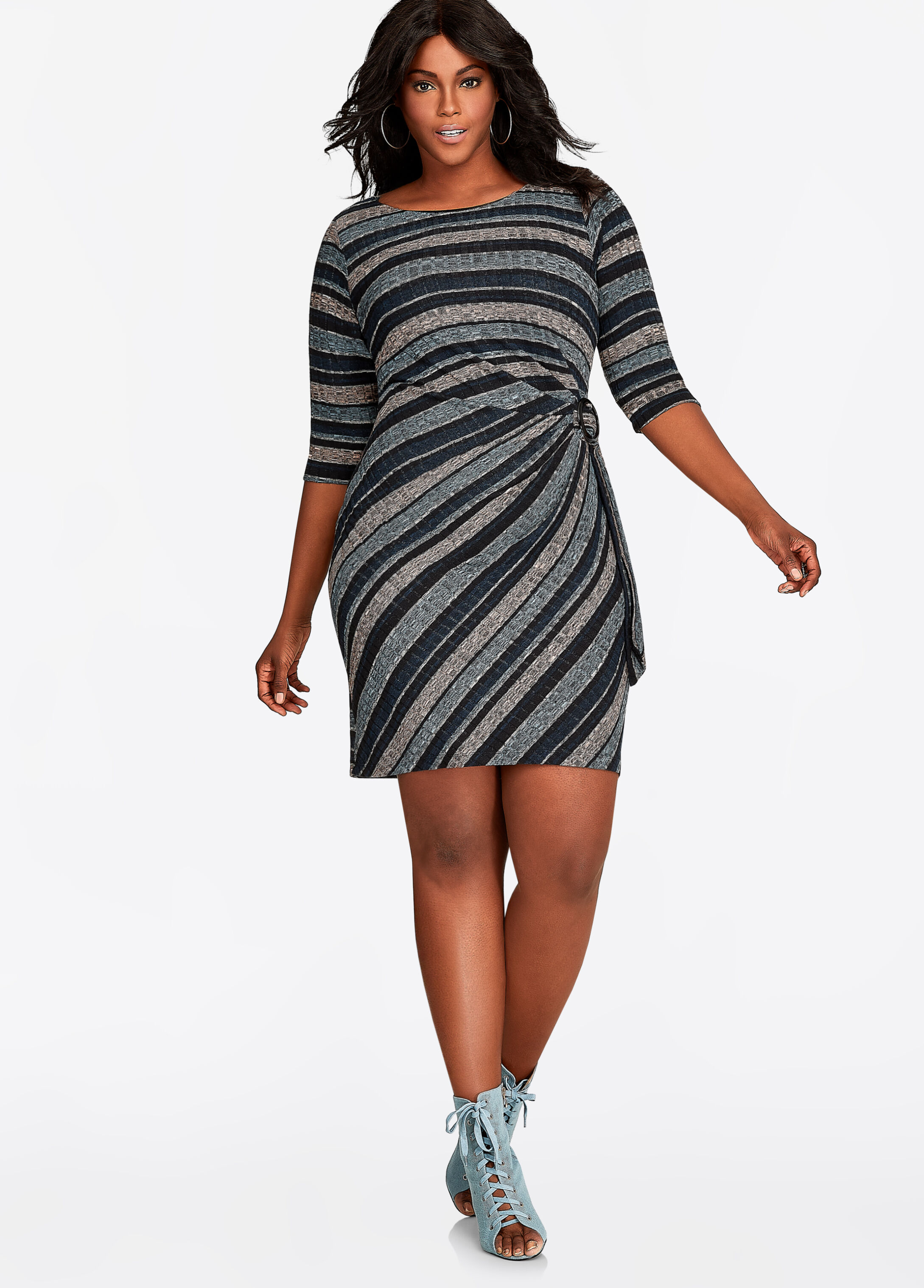 Striped Ribbed Knit Sweater Dress