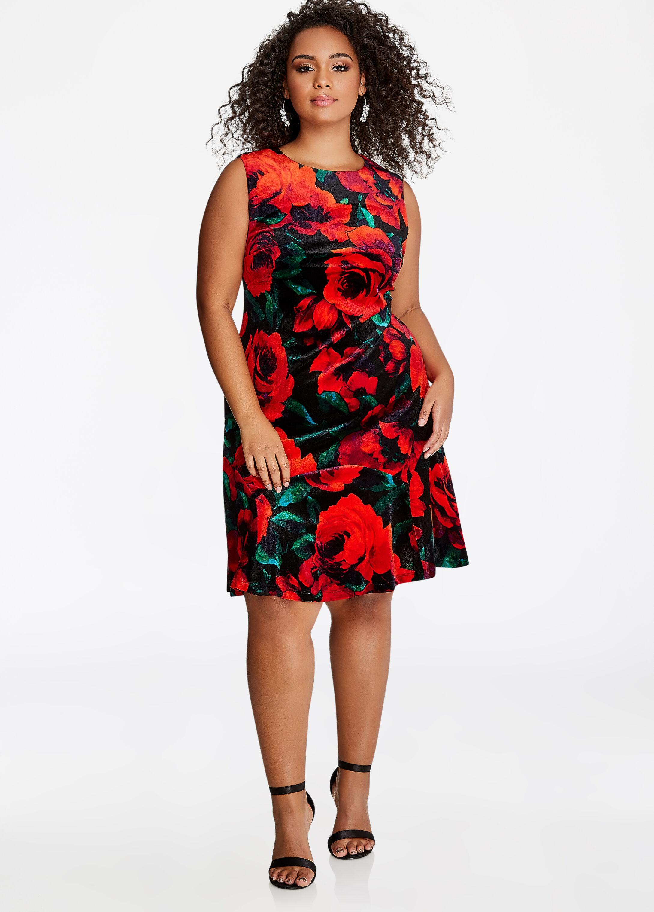 Rose Floral Velvet Dress