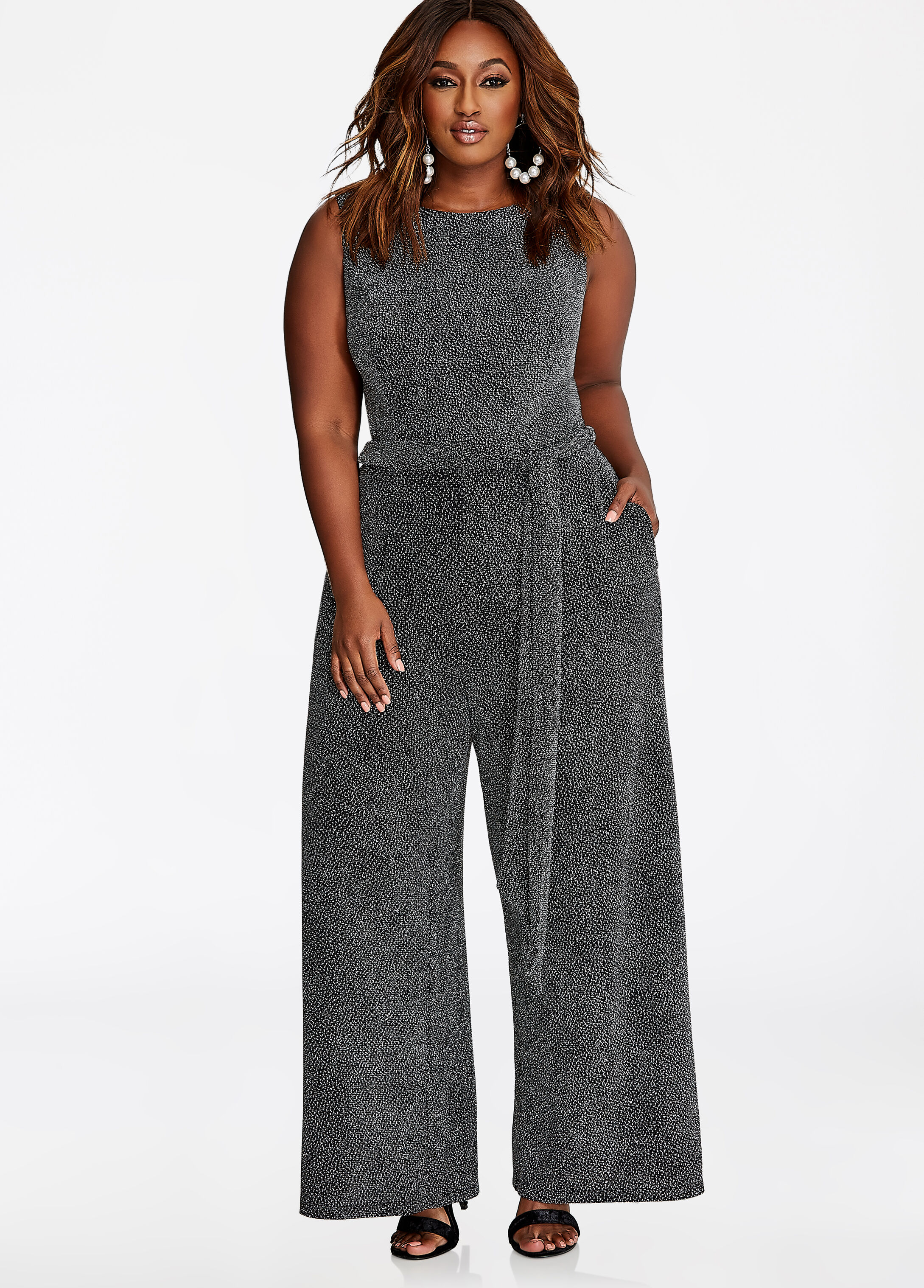 Silver Metallic Belted Jumpsuit