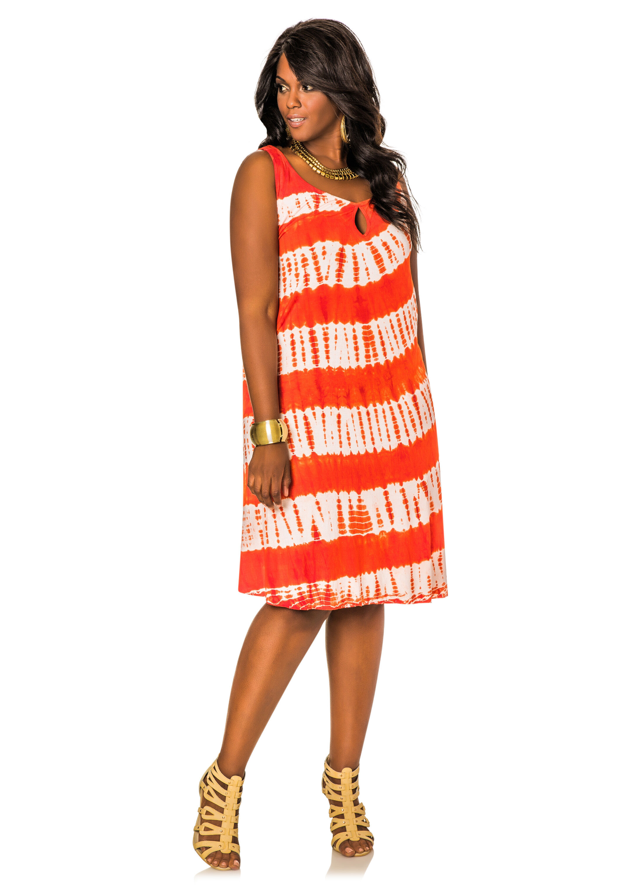 087d92c0bb Tie Dye Keyhole Floater Dress-Plus Size Dresses-Ashley Stewart-Plus ...
