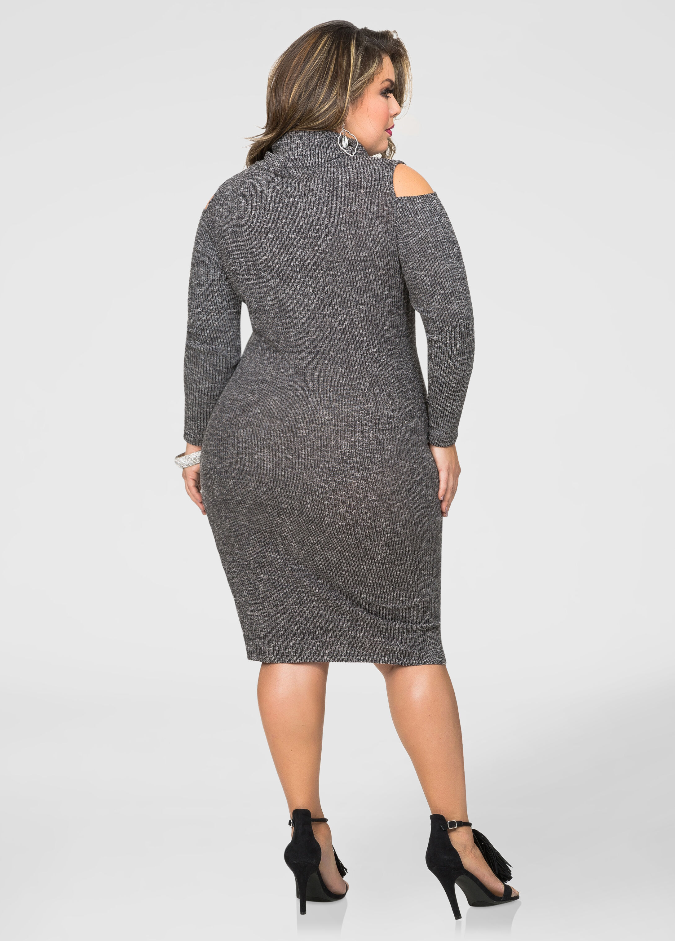 Cowl Neck Cold Shoulder Sweater Dress-Plus Size Dresses-Ashley Stewart