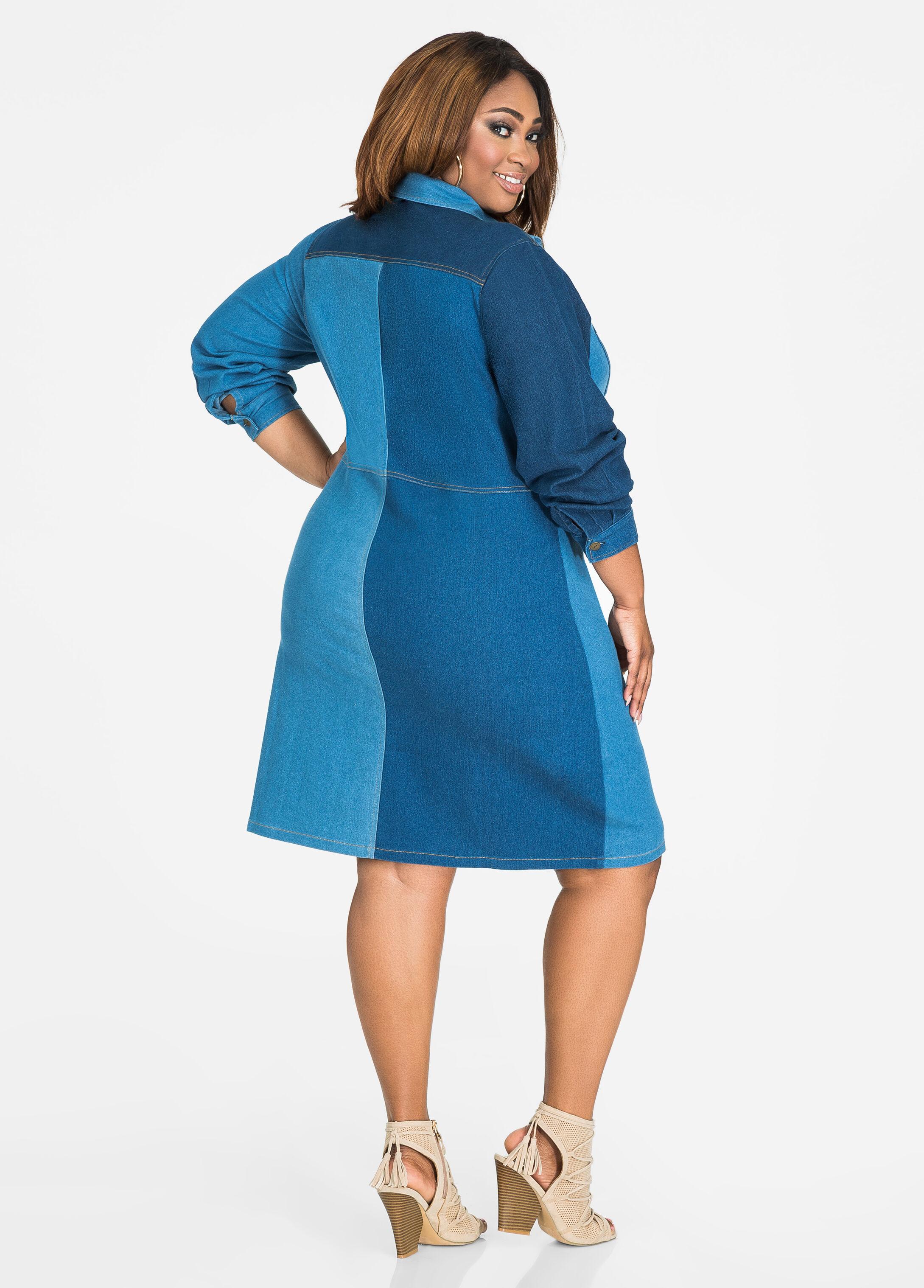 Patchwork Denim Studded Dress