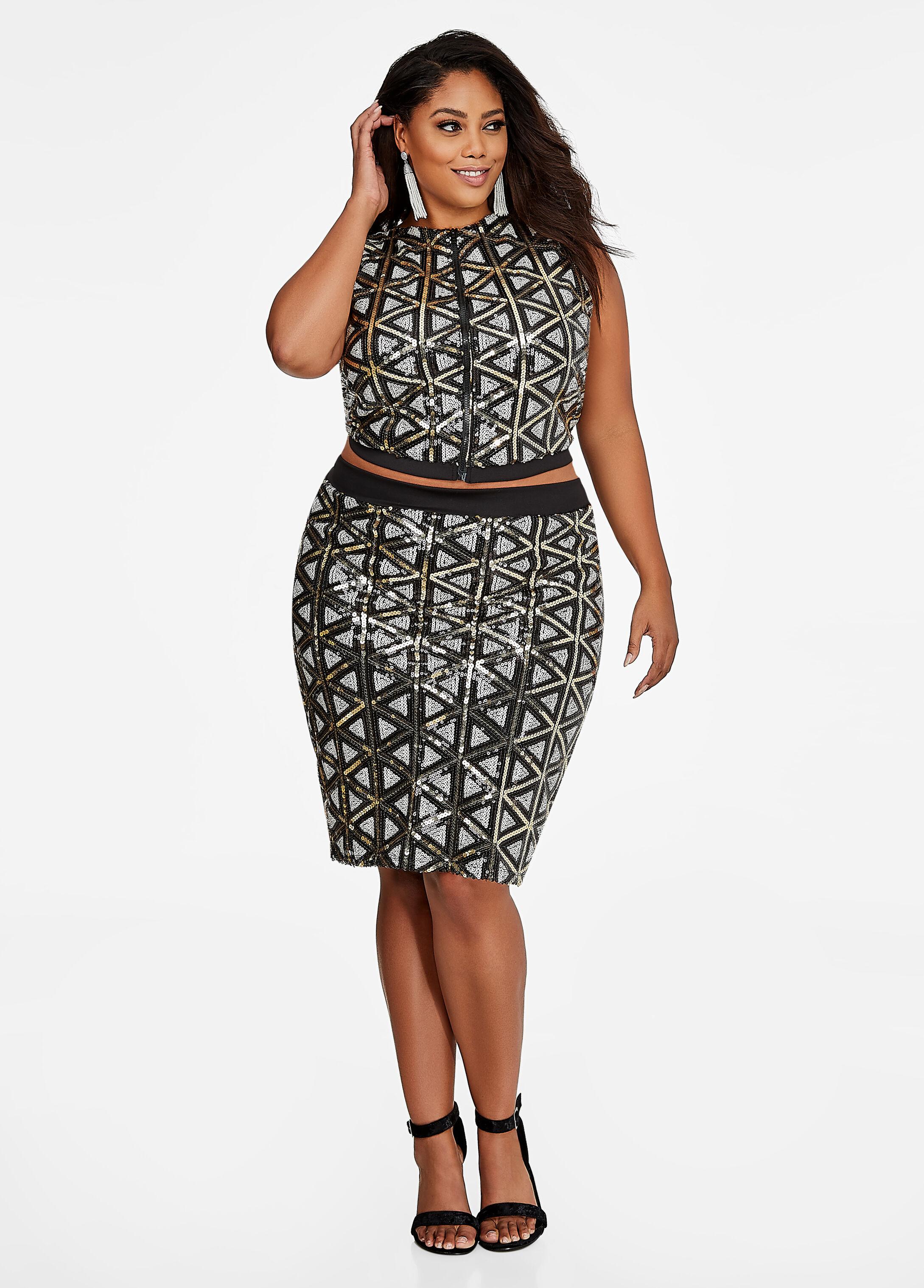 Geo-Sequin Front Pencil Skirt
