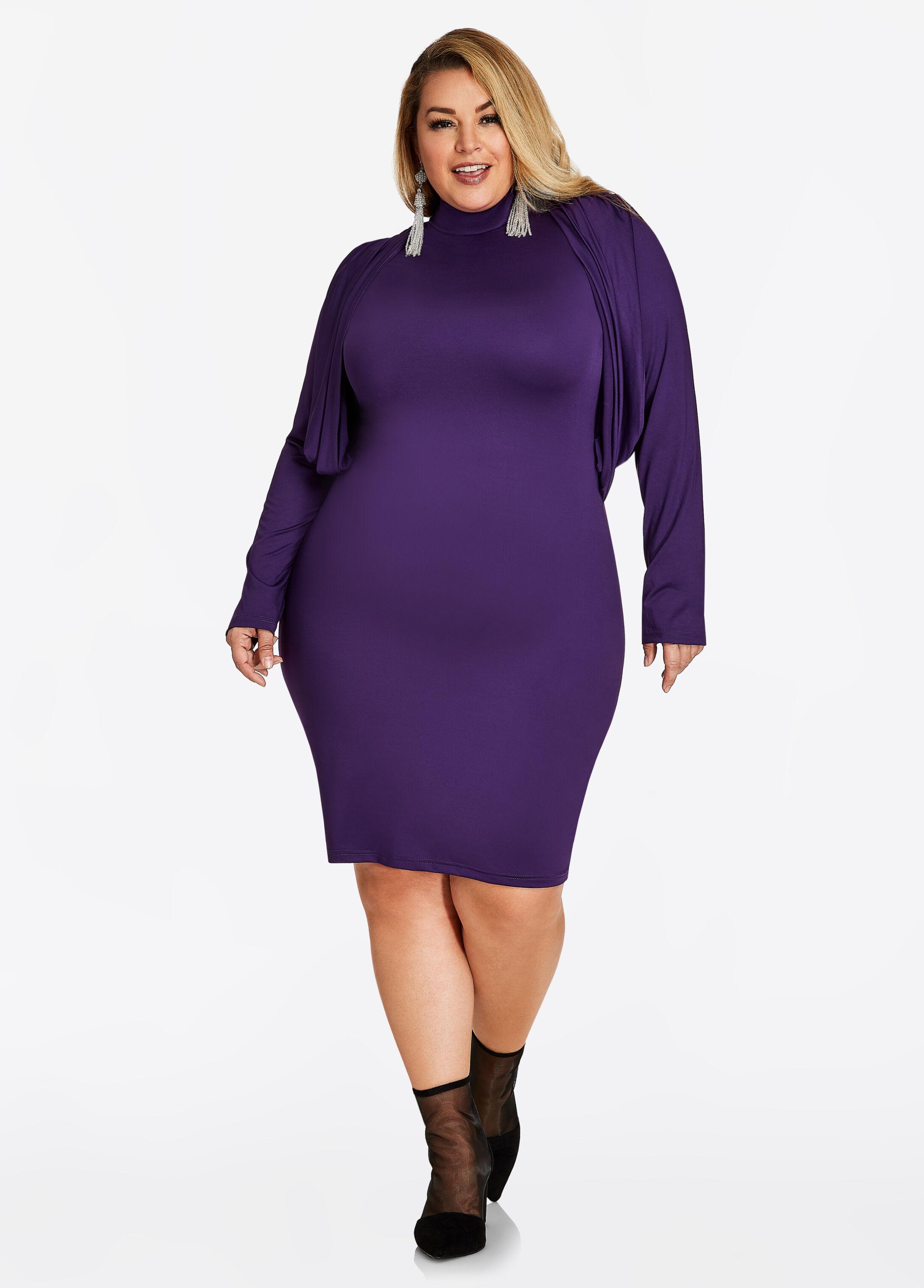 Plus size dresses in sizes 12 to 36 ashley stewart draped shoulder zip back sheath dress ombrellifo Choice Image