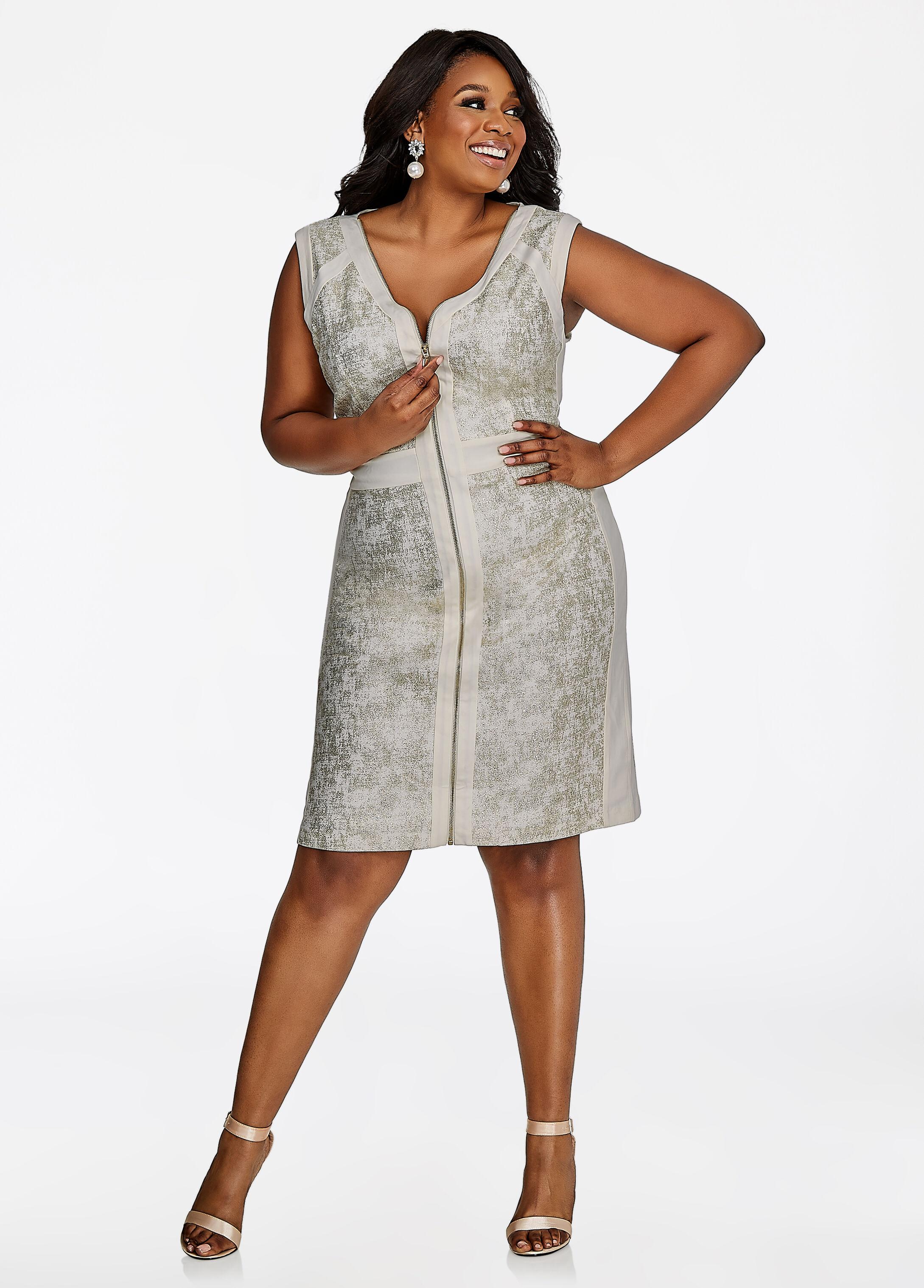 Foil-Knit Front Zip-Up Scuba Dress