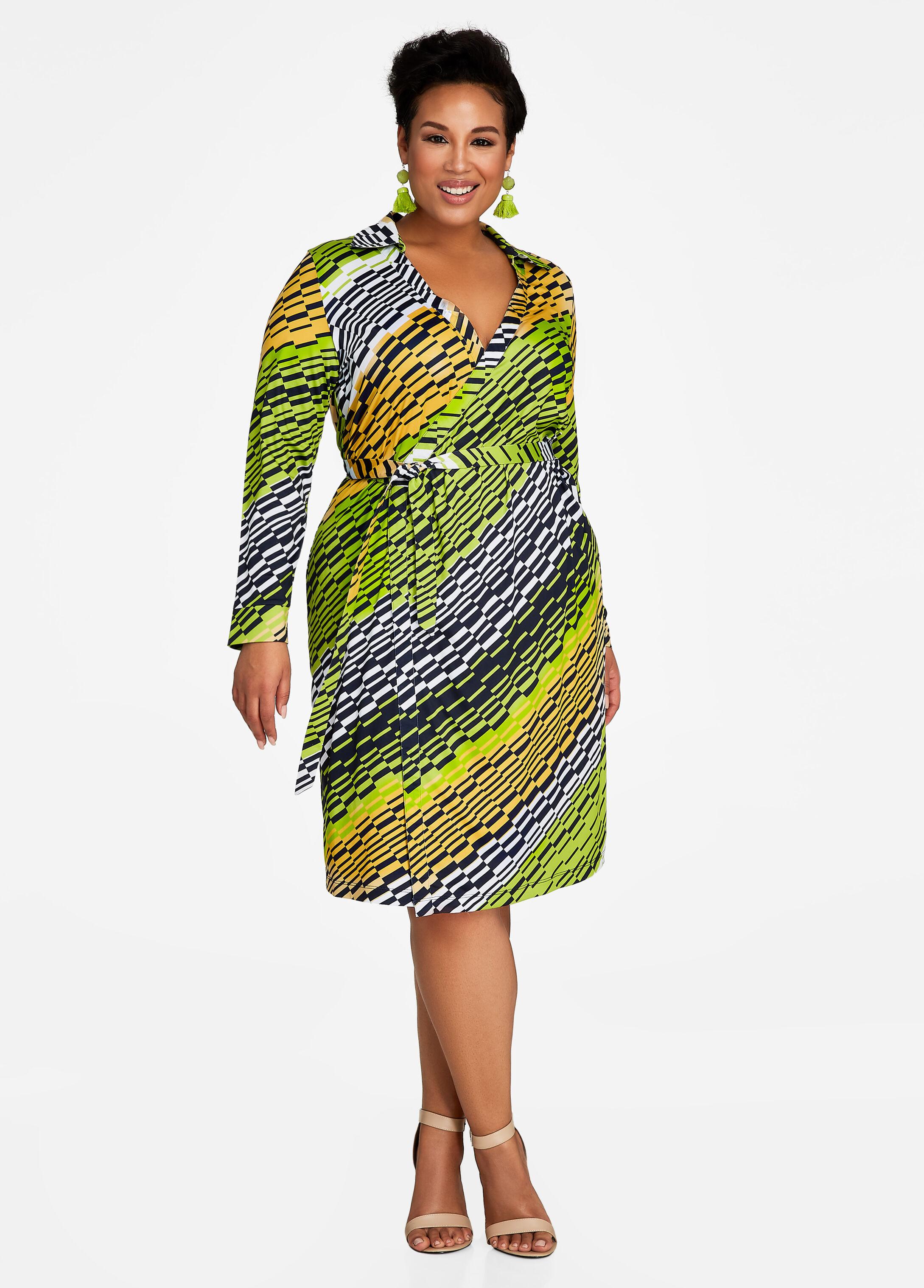 Belted Multi-Stripe Wrap Dress