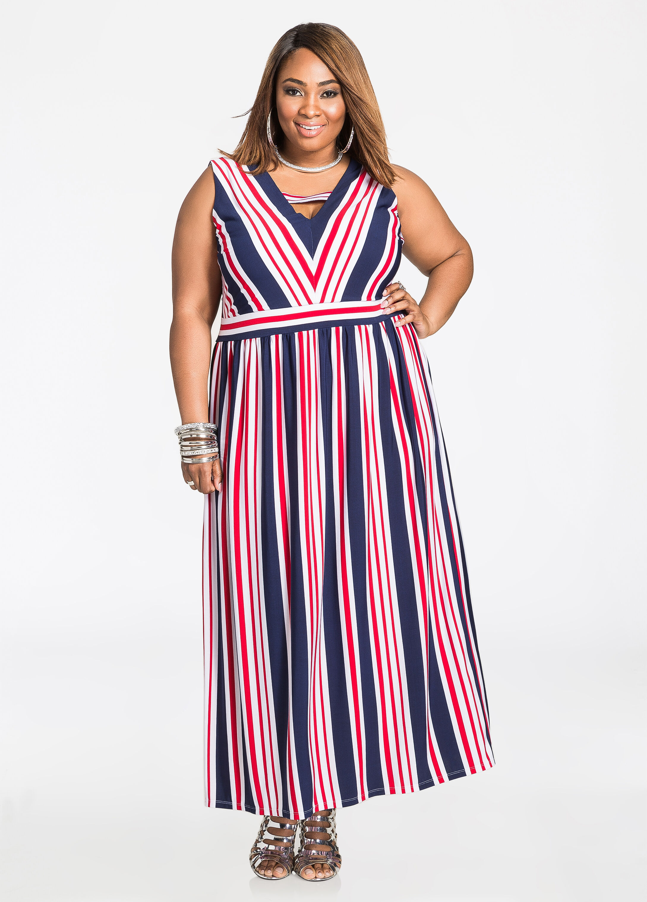 Americana Stripe Deep V Maxi Dress Medieval Blue - Clearance
