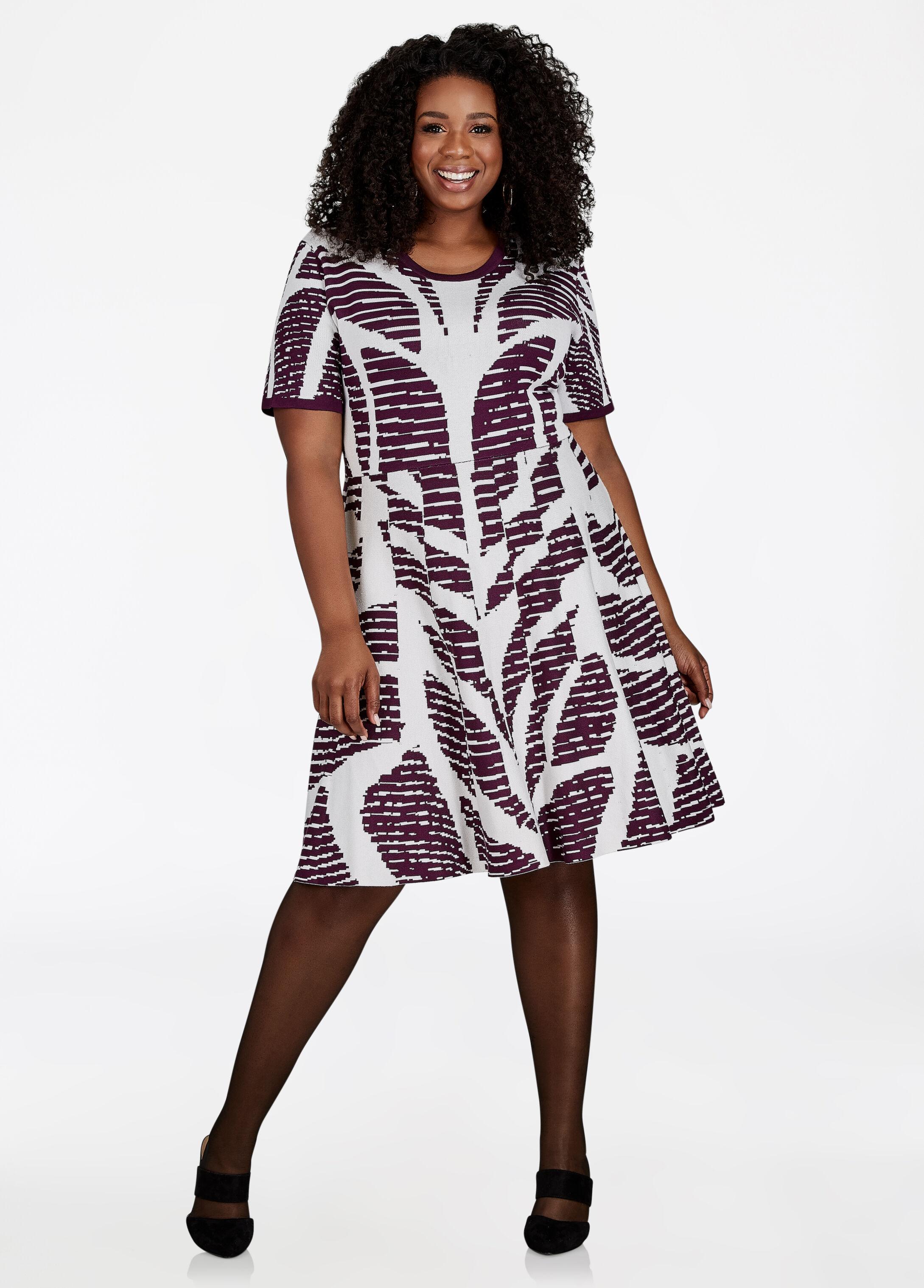 Geo-Pattern Sweater Dress