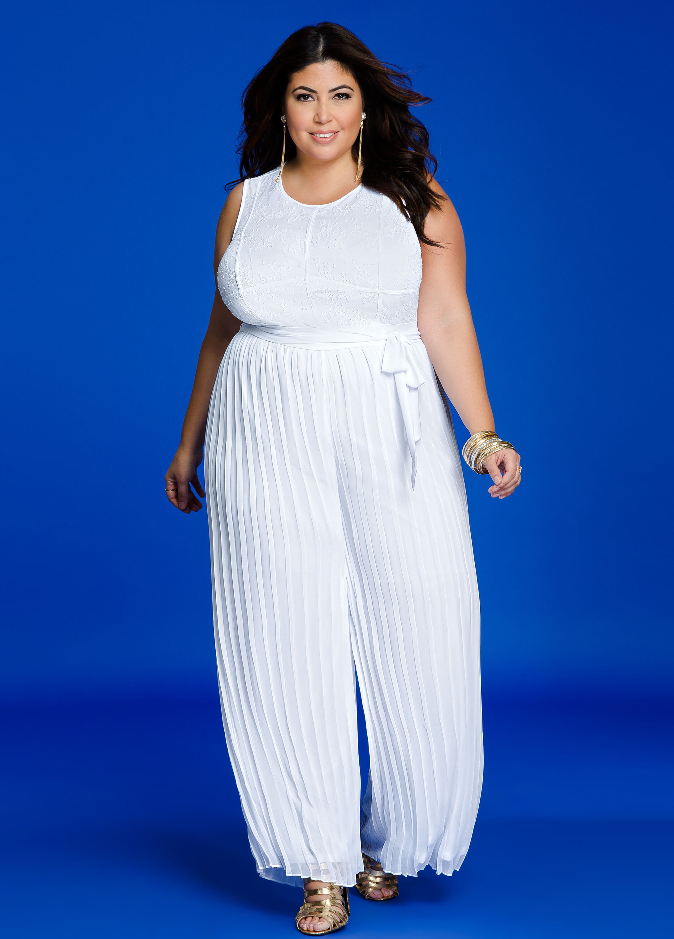 f3e72bb4b70 Plus Size Dresses - Lace Overlay Top Pleated Jumpsuit