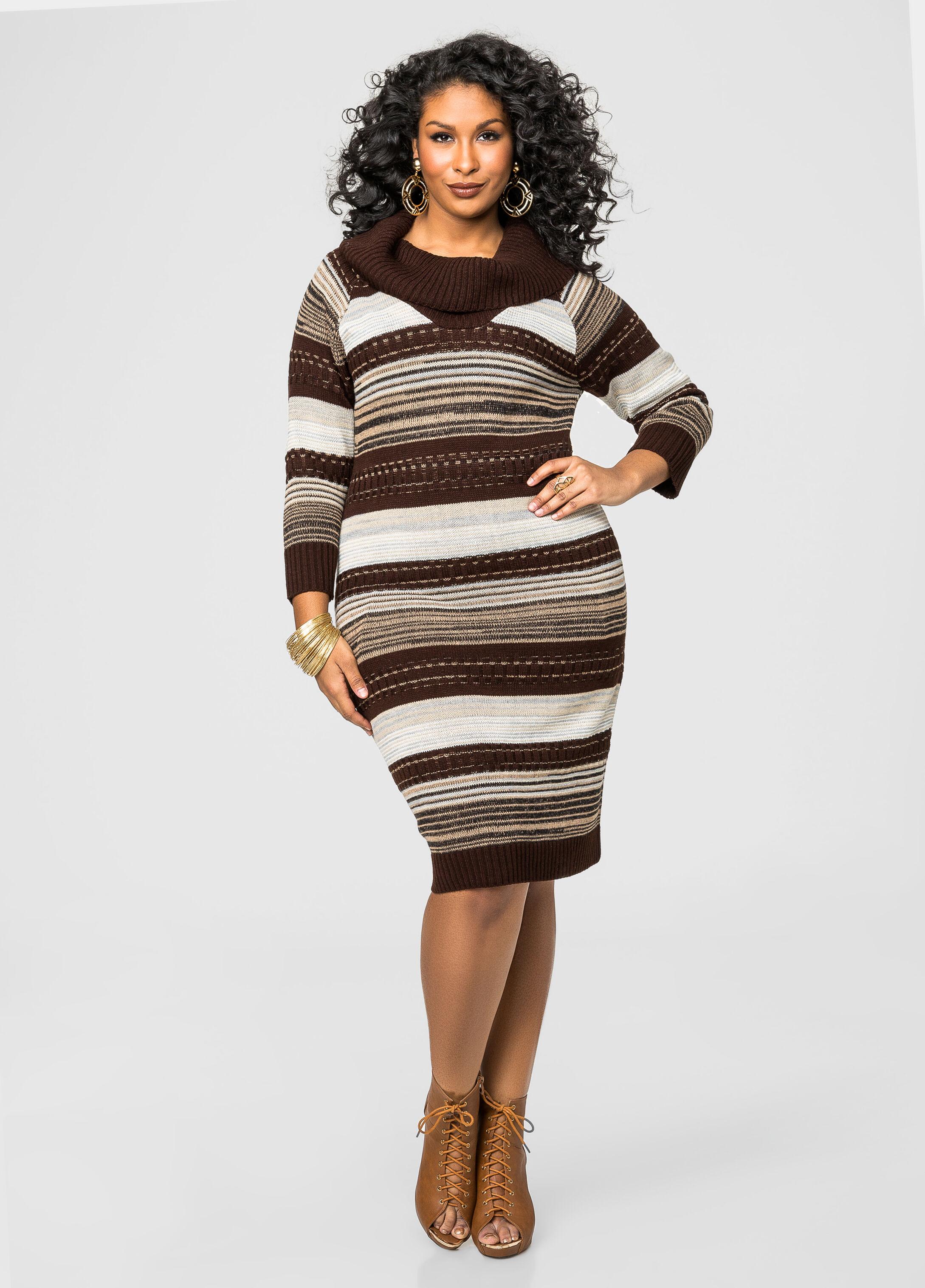 Multi Stripe Cowl Neck Sweater Dress-Plus Size Dresses-Ashley Stewart