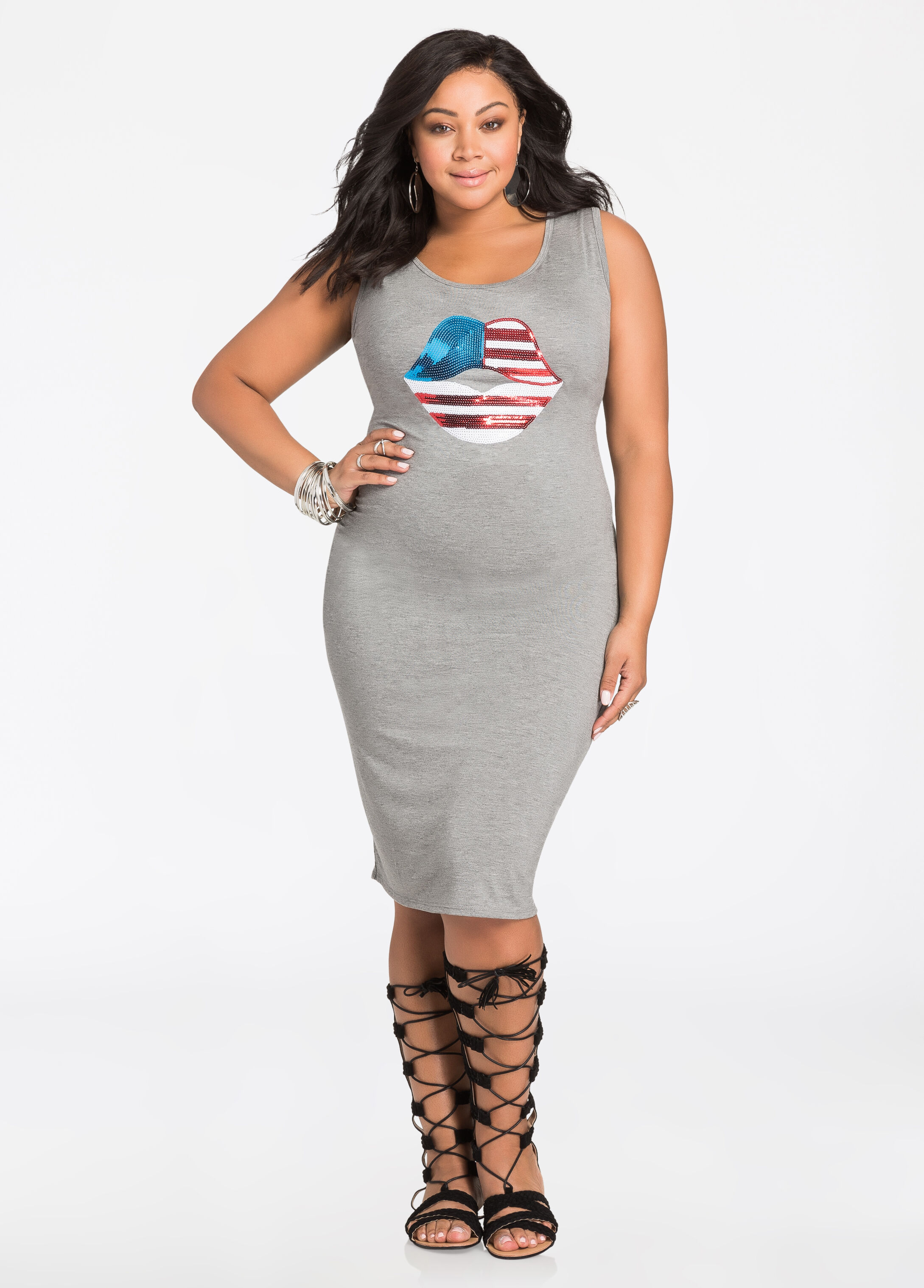 American Flag Sequin Lips Tank Dress Heather Grey - Clearance