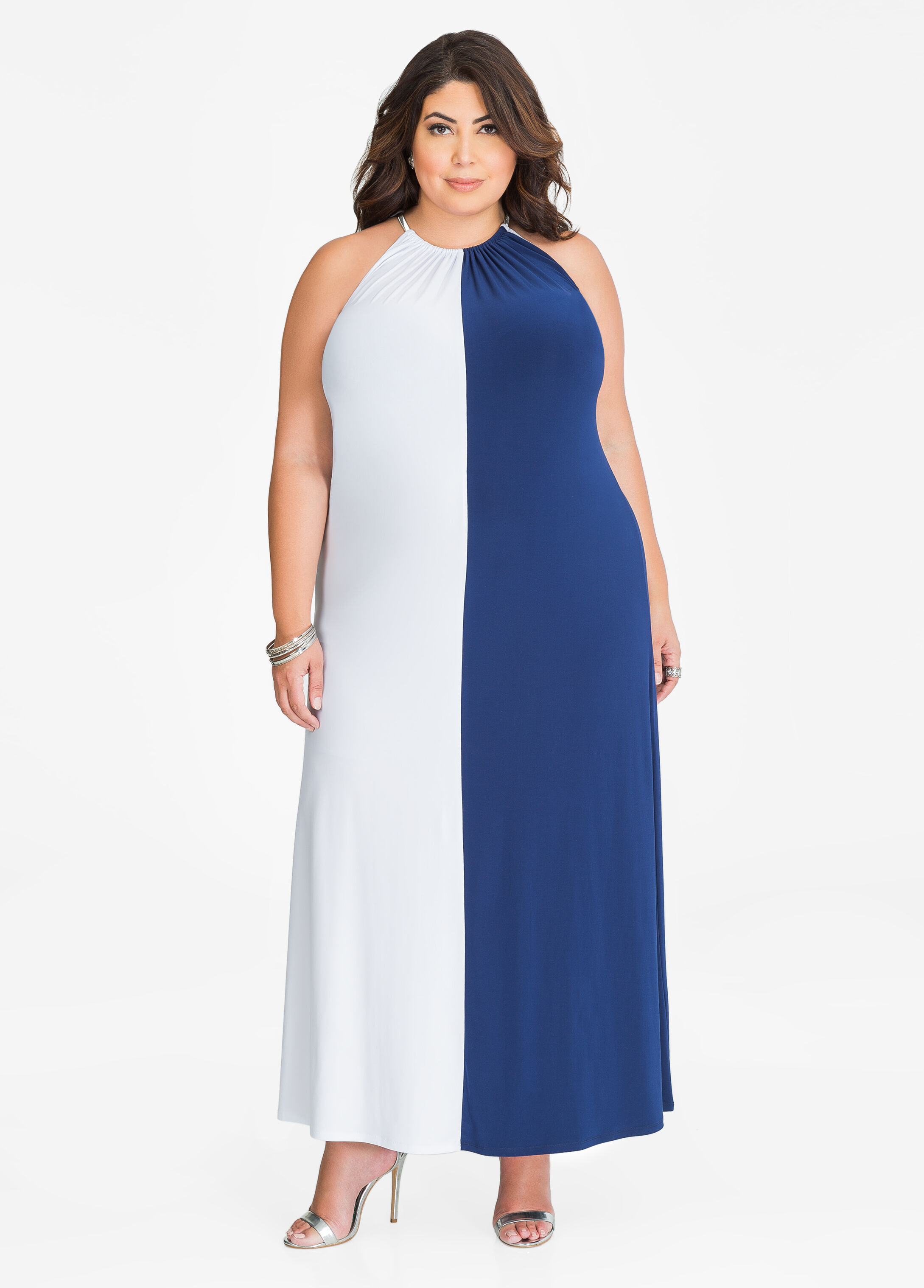 Chain Halter Neck Colorblock Maxi Dress Medieval Blue - Clearance