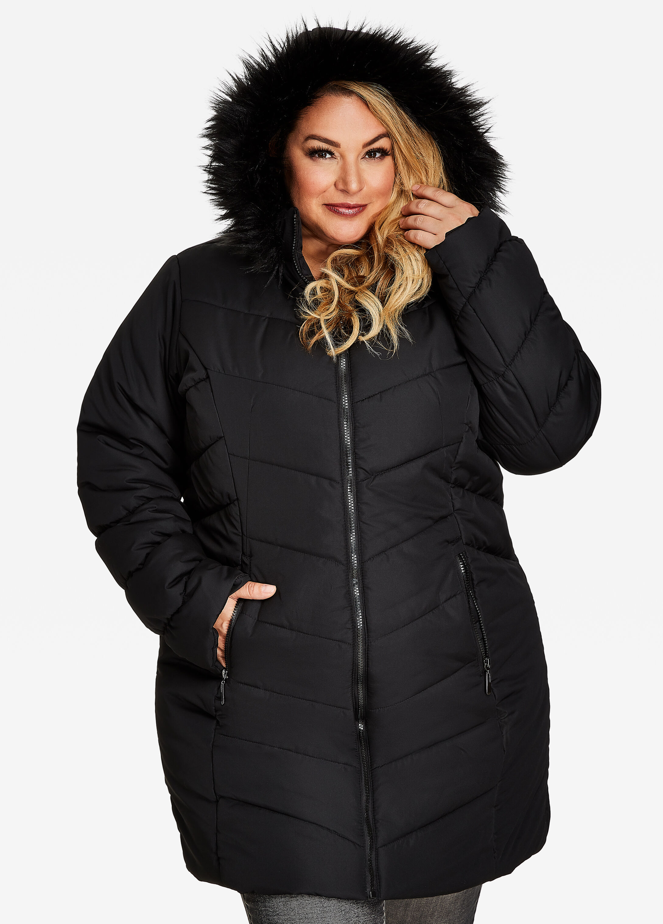 Quilted Long Puffer Jacket With Hood