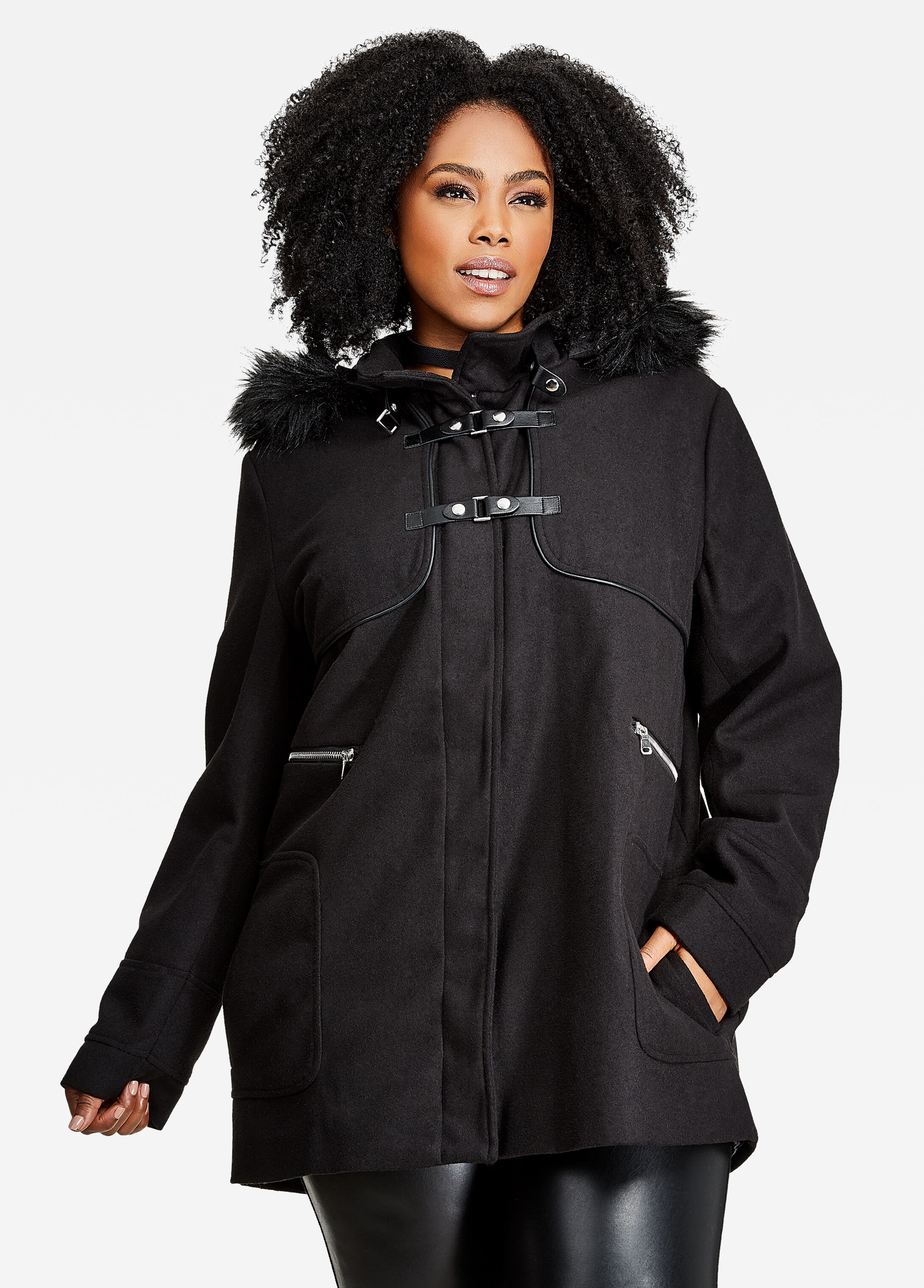 Plus Size Heavy Outerwear - Wool Coat With Faux Fur Trim and Hood