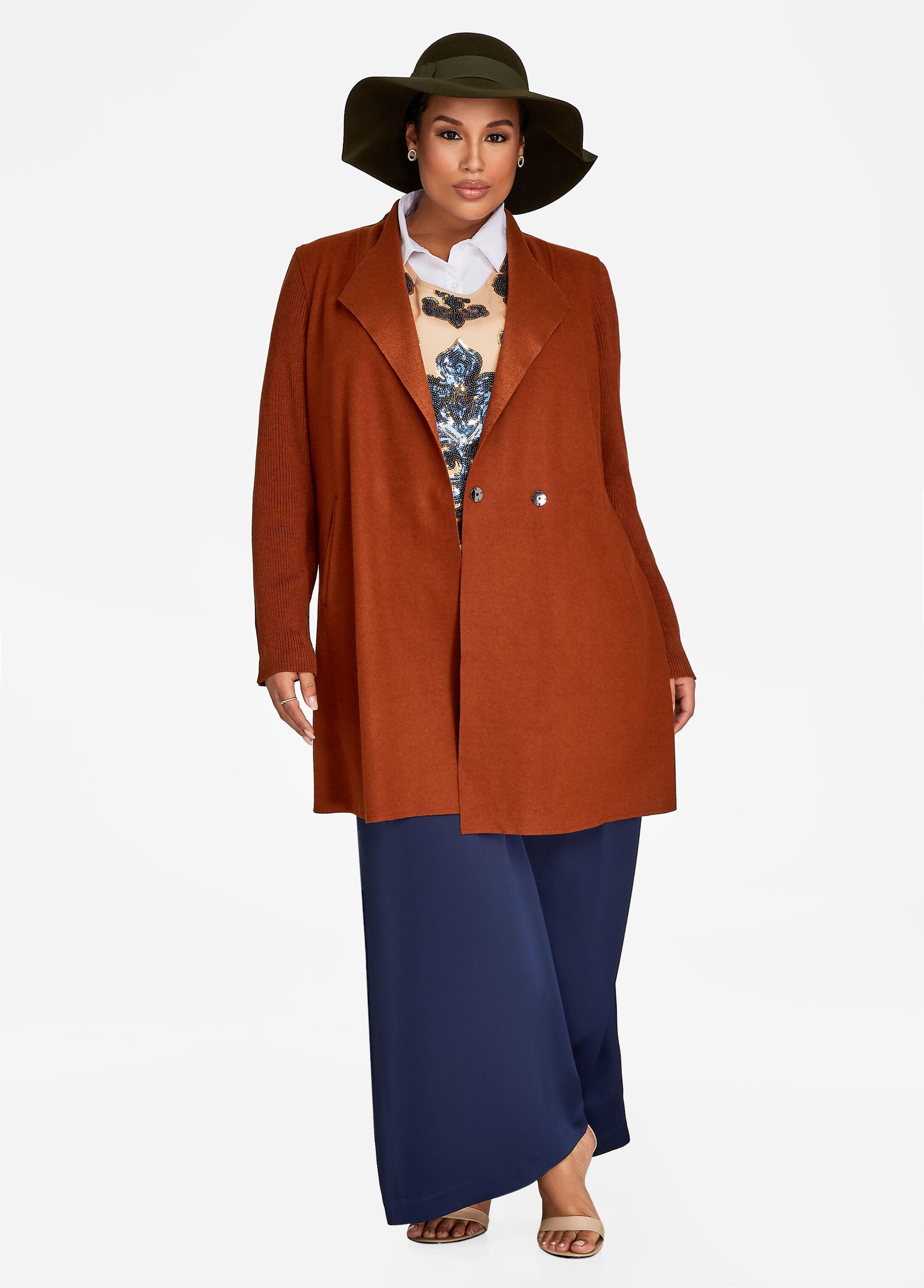 Sweater Sleeve Wool Blend Coat