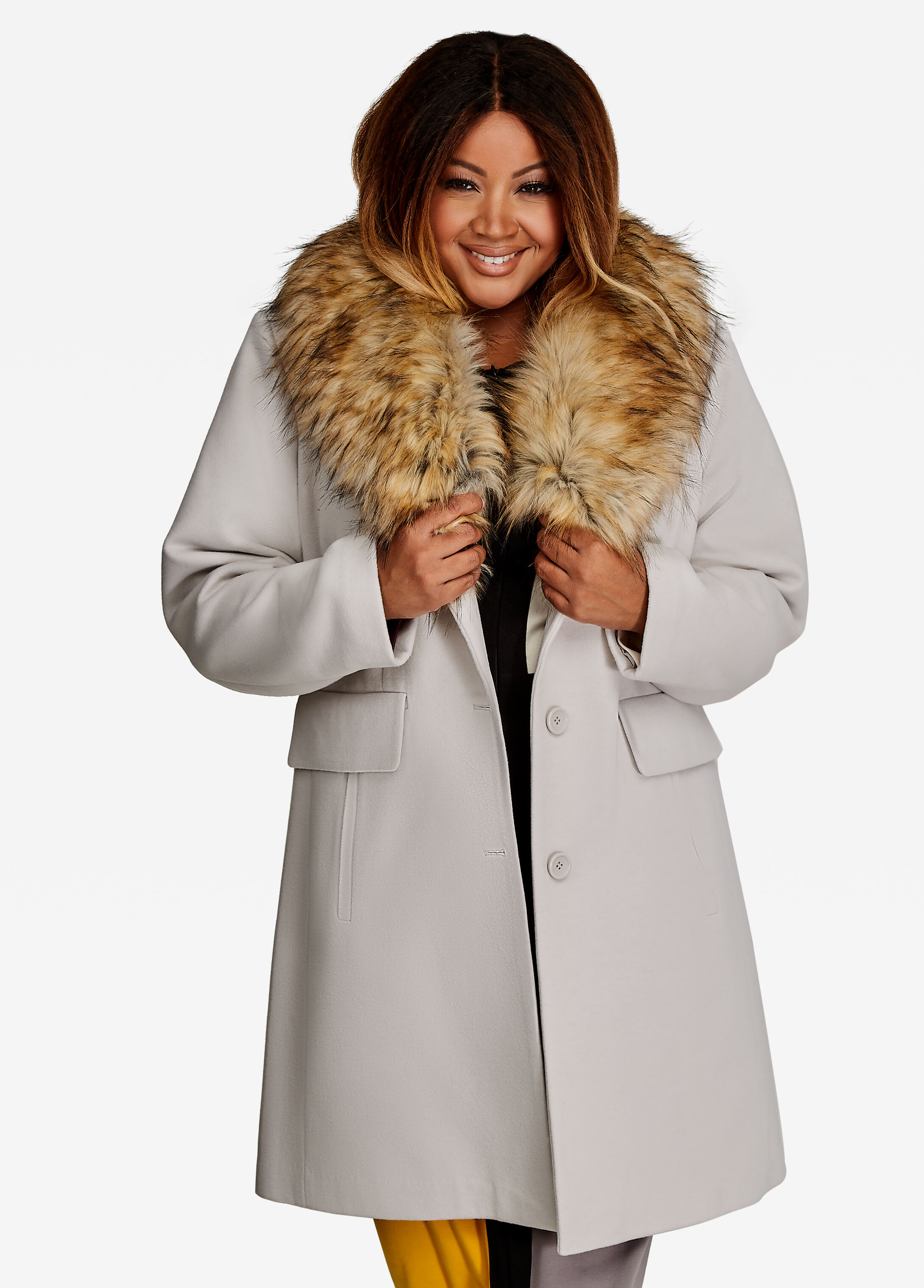 Removable Faux Fur Collar Coat