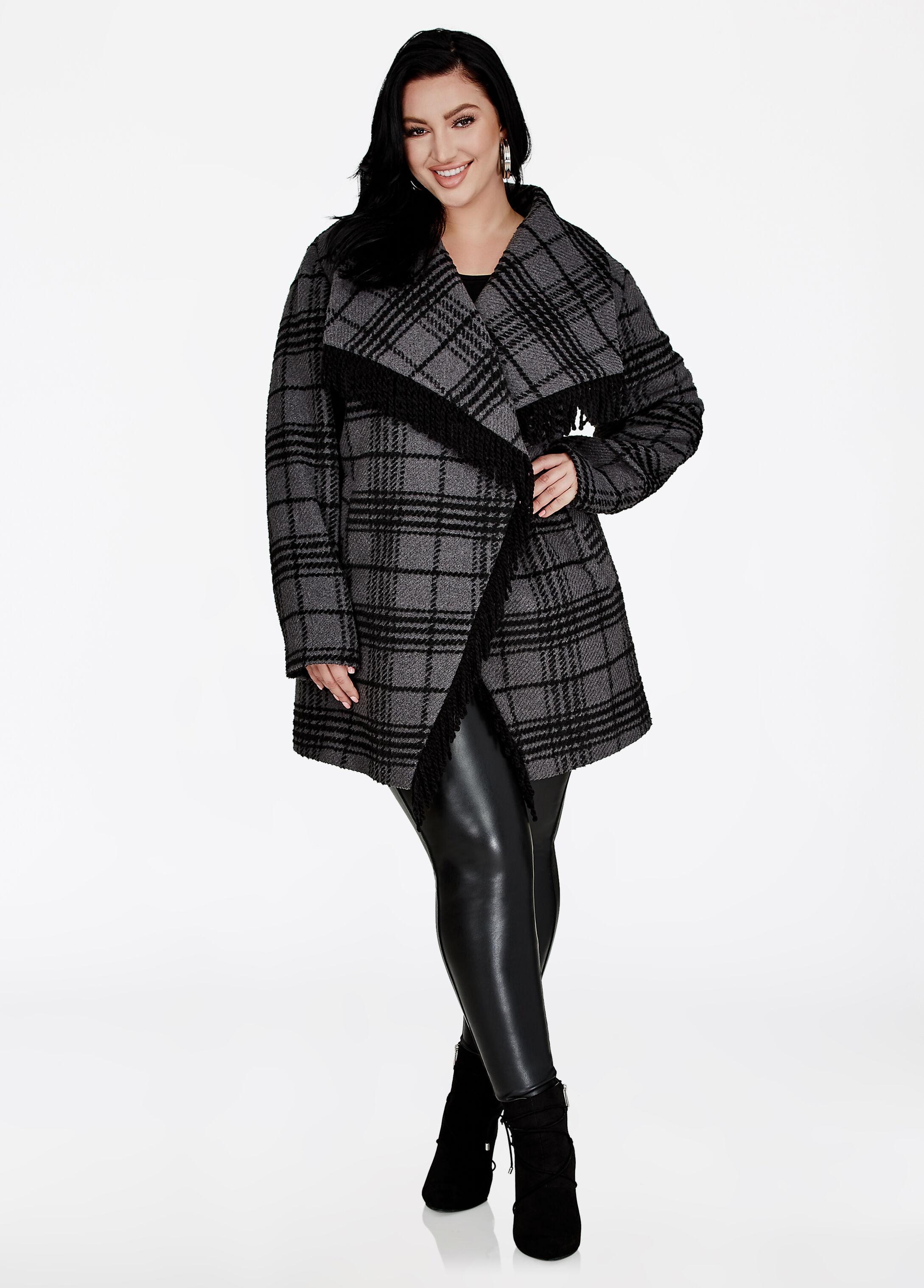 Plaid Fringe Coat
