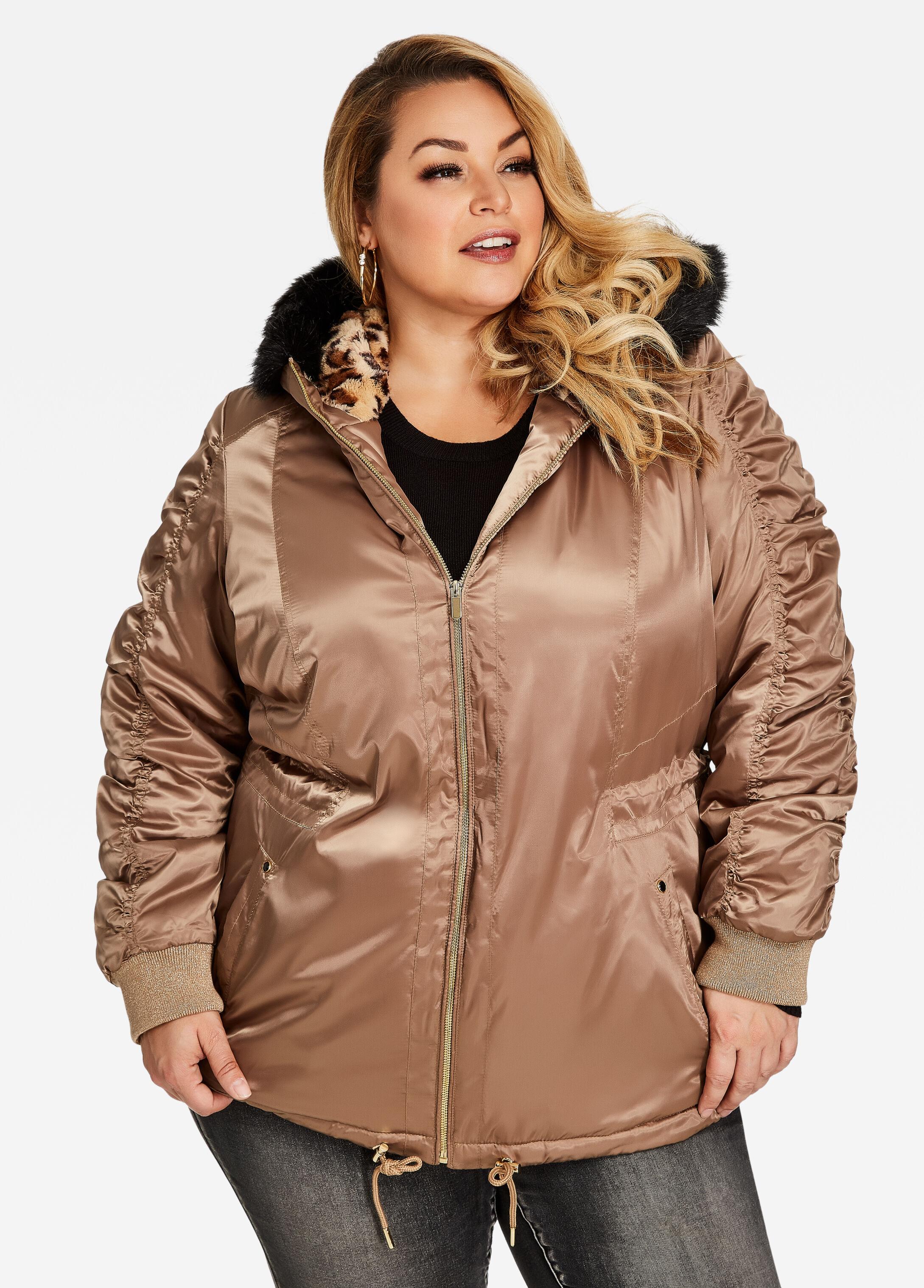 Satin Leopard Hood Puffer Jacket