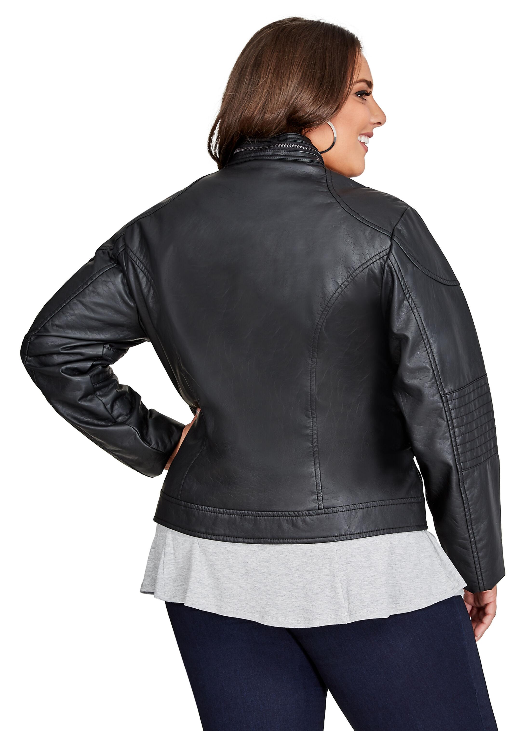 Zip Collar Faux-Leather Racing Jacket