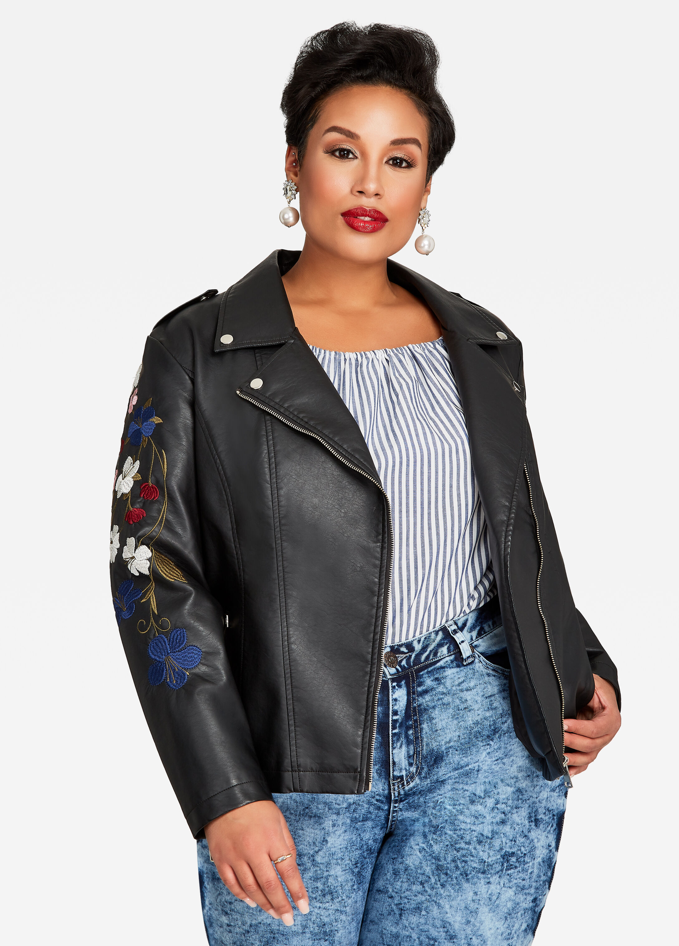 Embroidered Sleeve Moto Jacket
