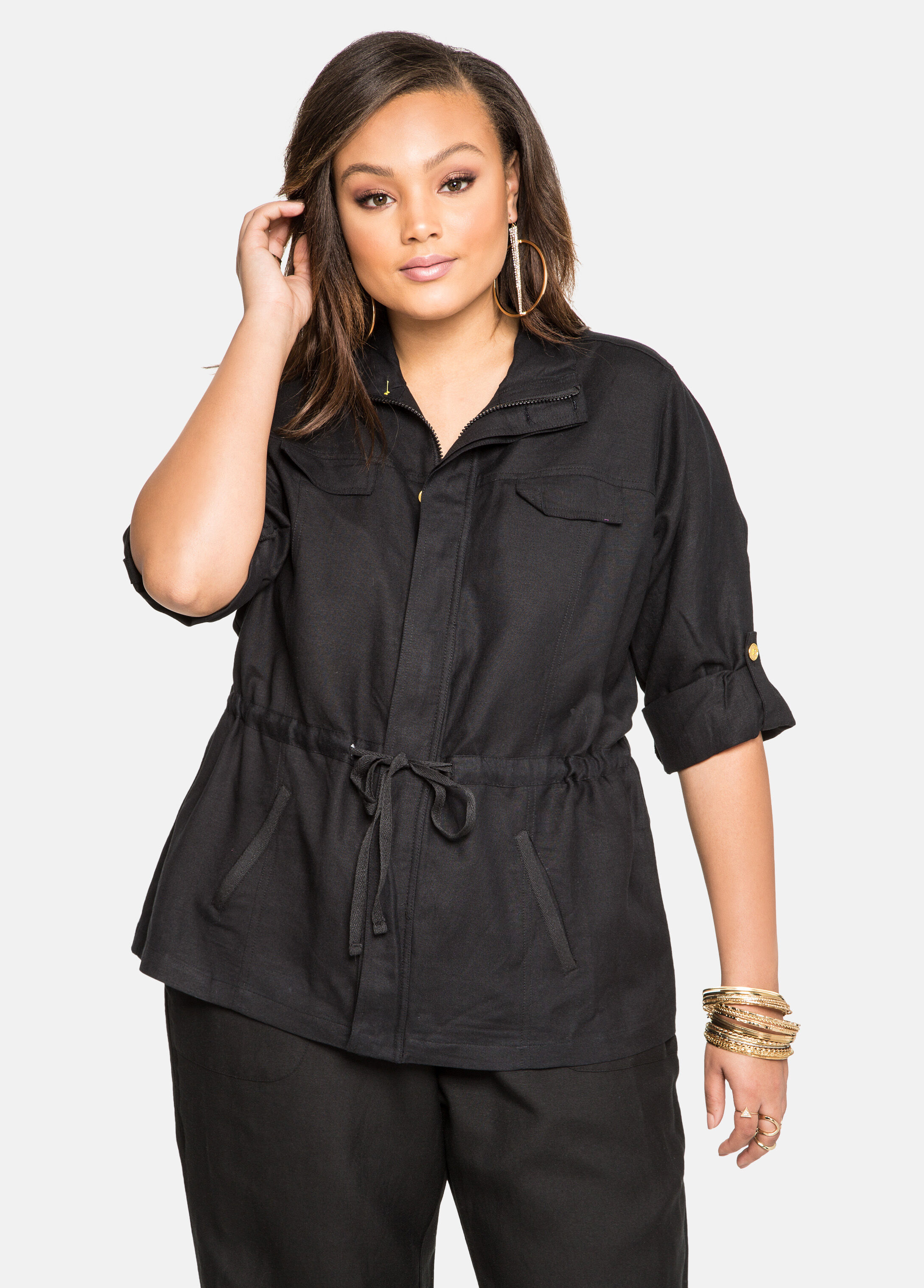 Drawstring Waist Linen Jacket Black - Clearance