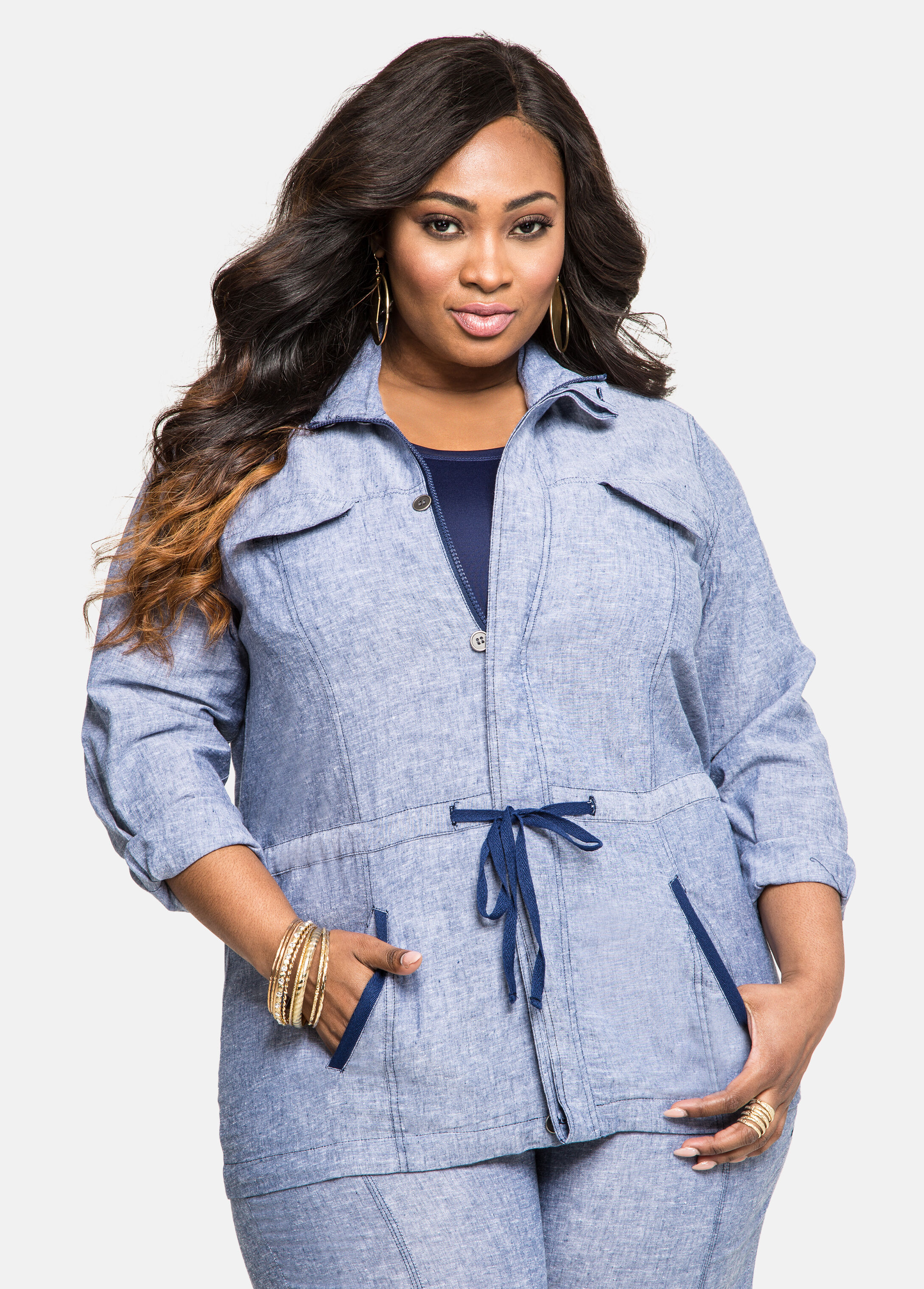 Chambray Drawstring Linen Jacket Indigo - Clearance