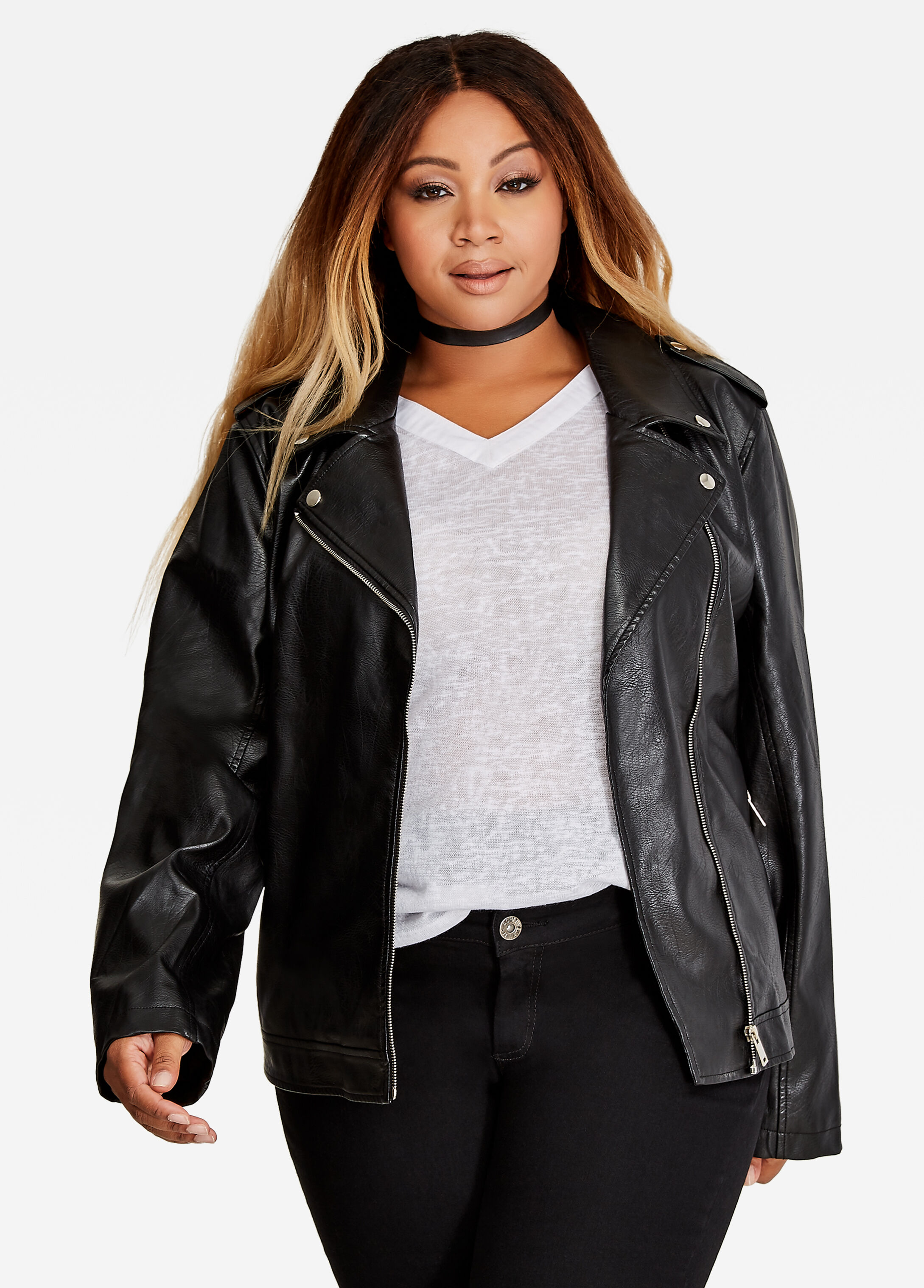 Faux Leather Moto Jacket Black - Clearance