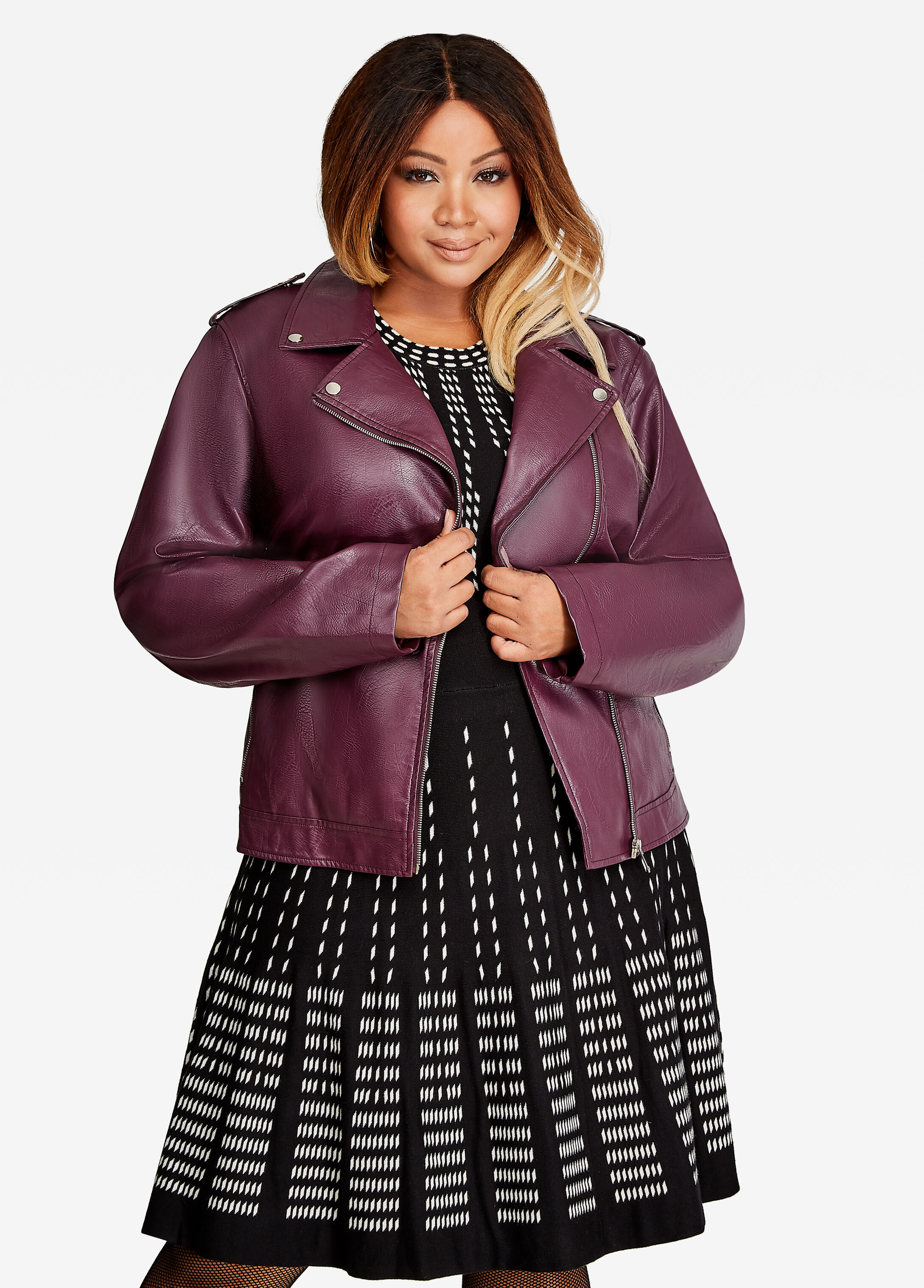 Faux Leather Moto Jacket Italian Plum - Clearance
