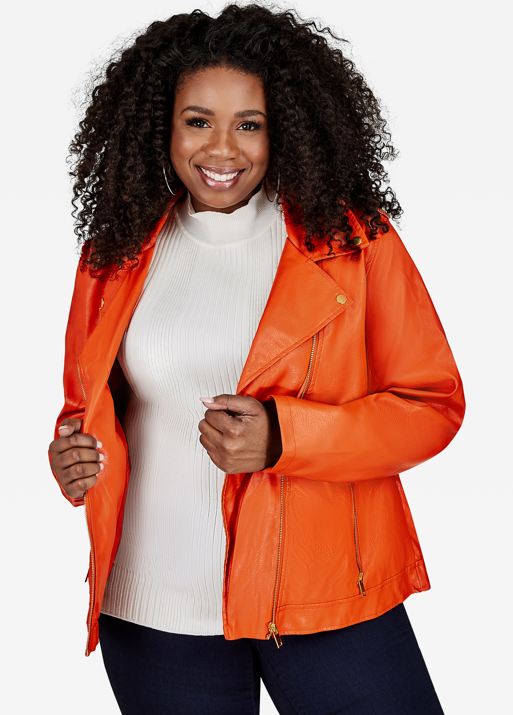 Faux Leather Moto Jacket Mecca Orange - Clearance