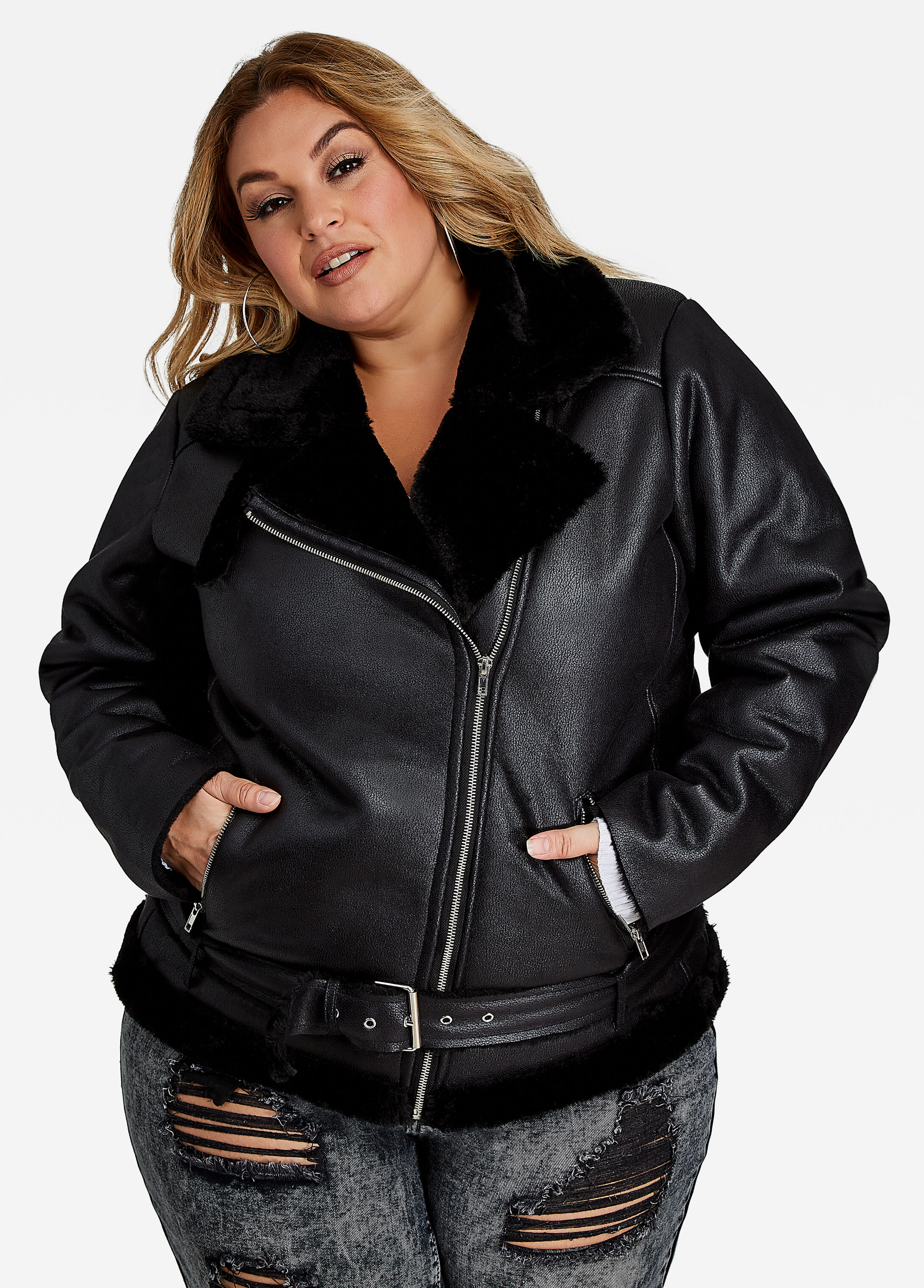 Shearling Fur-Lined Leather Jacket