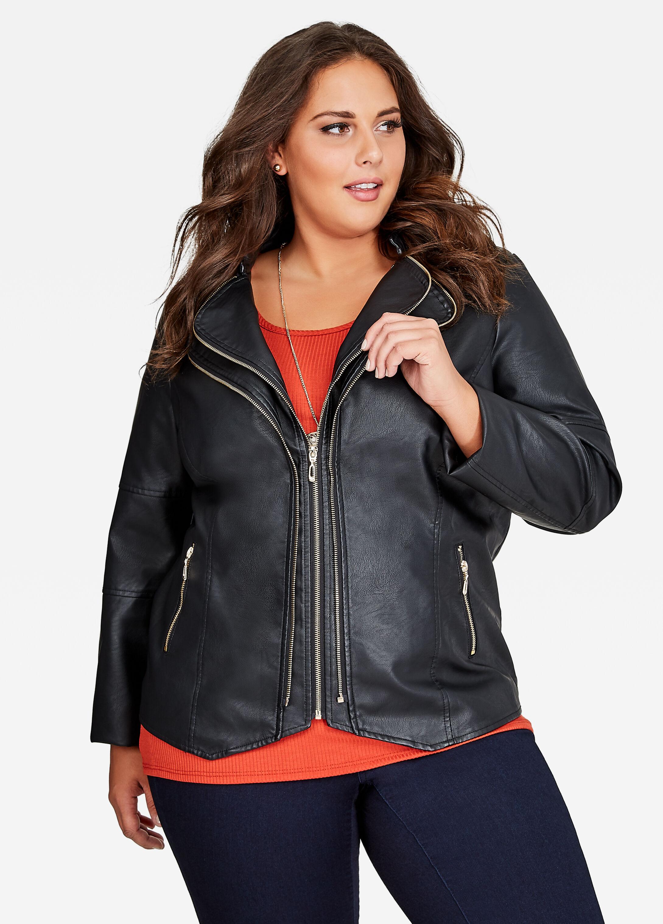 Double Zip Faux Leather Jacket