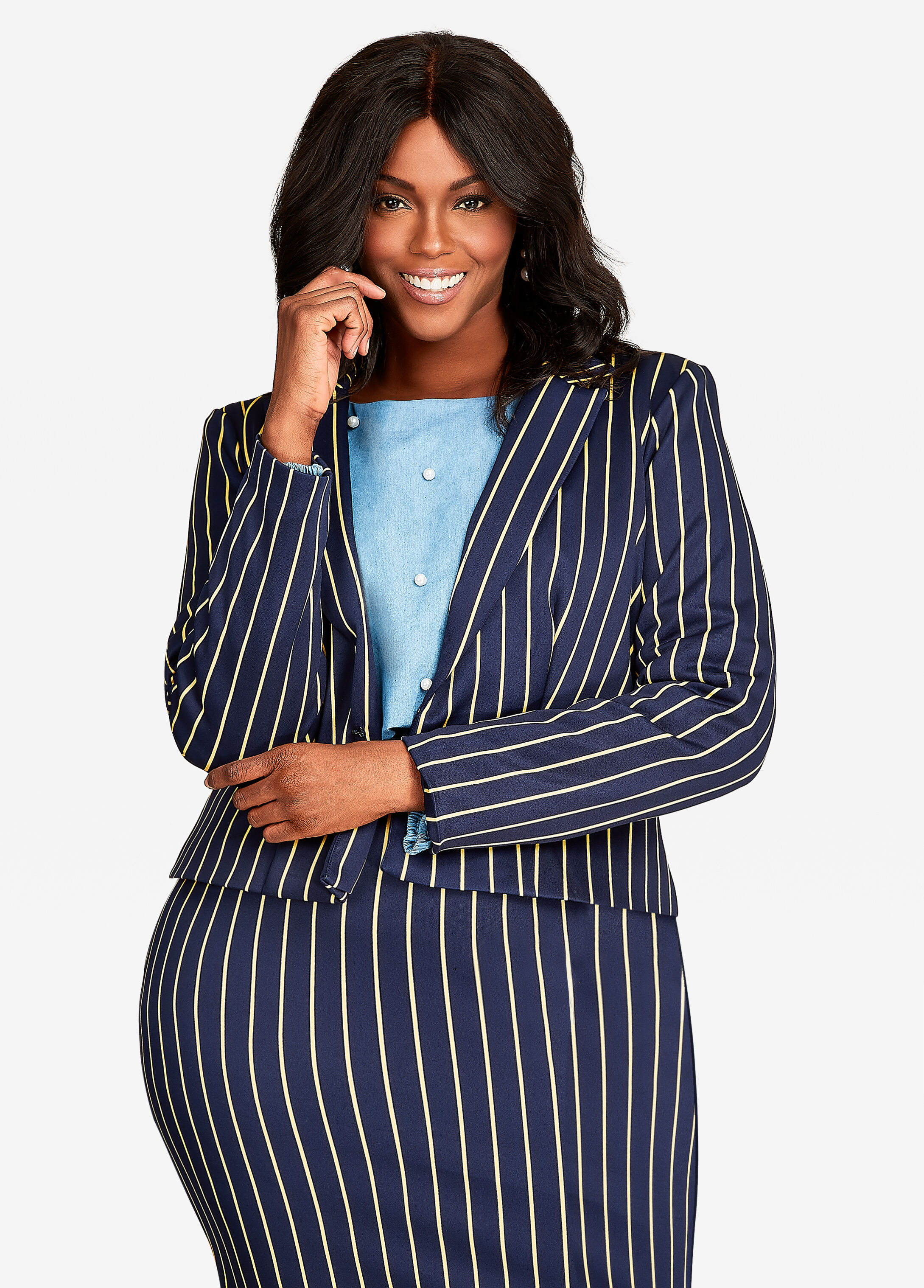 Notch Lapel Pinstripe Crop Blazer