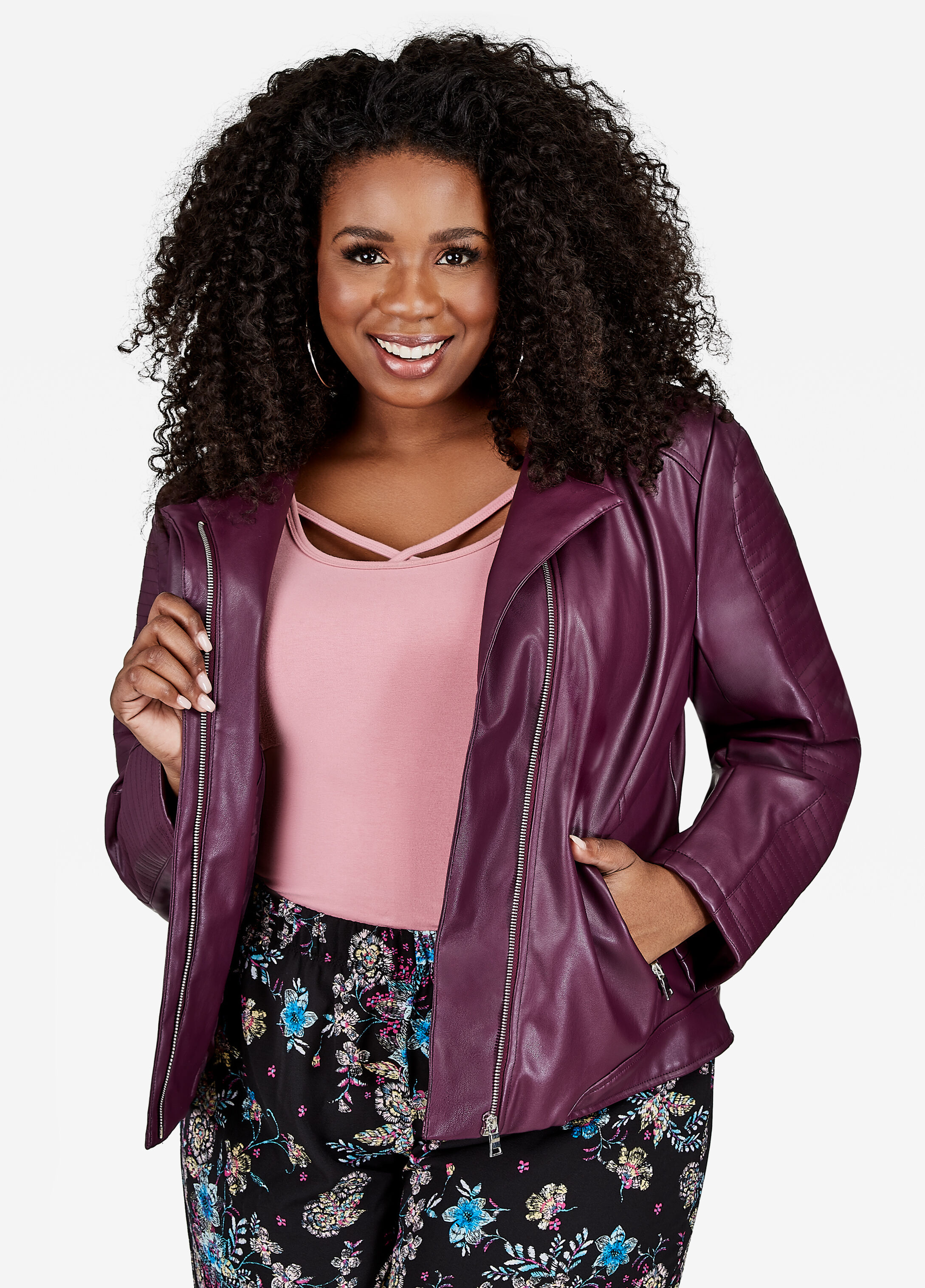 Quilted Sleeve Faux Leather Moto Jacket