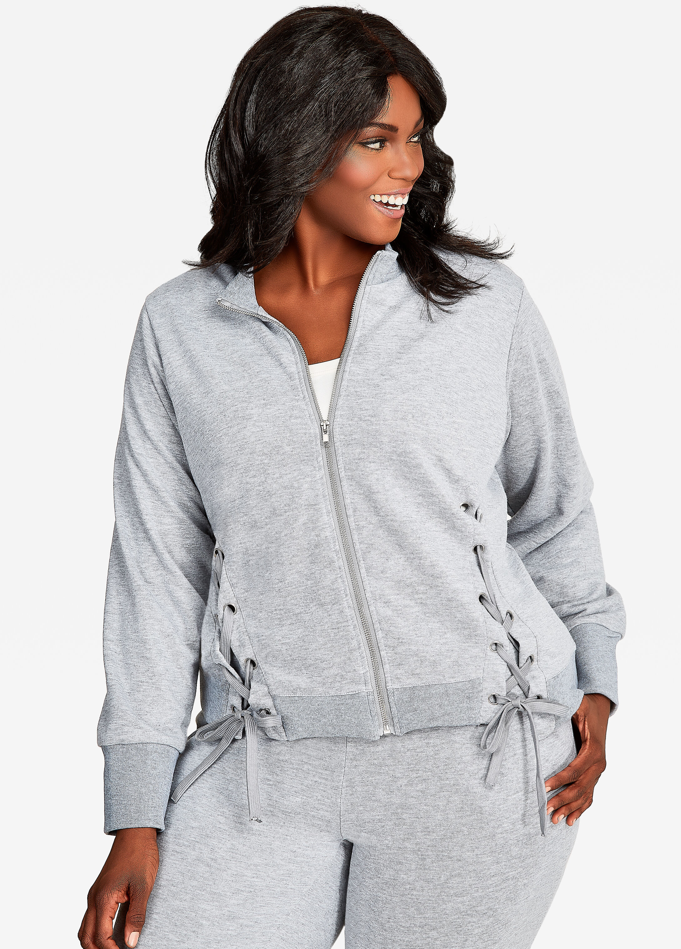 Zip-Up Track Jacket With Lace-Up