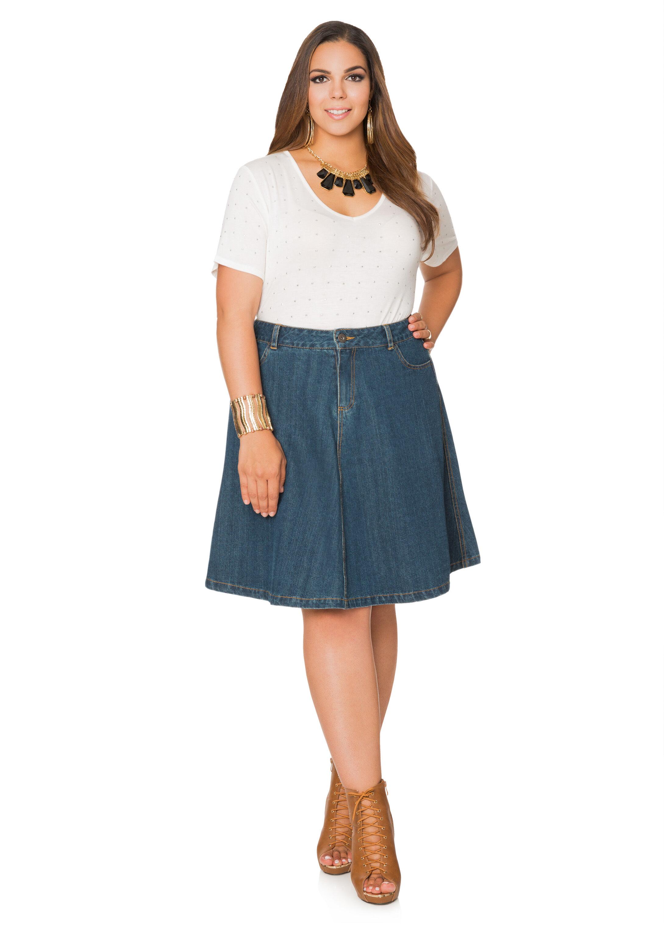 five pocket a-line jean skirt-plus size denim jeans-ashley stewart