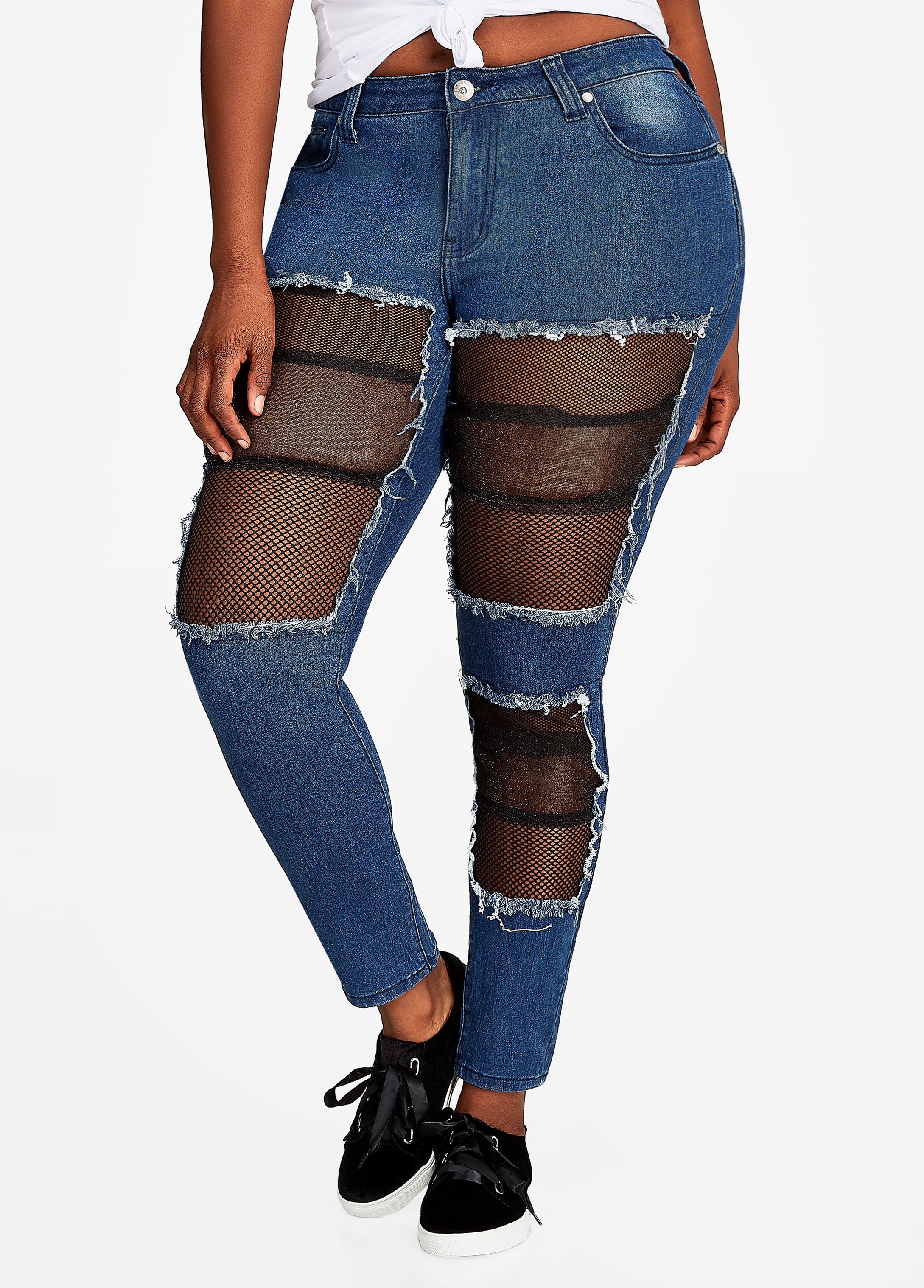 Mesh Inset Destructed Skinny Jeans
