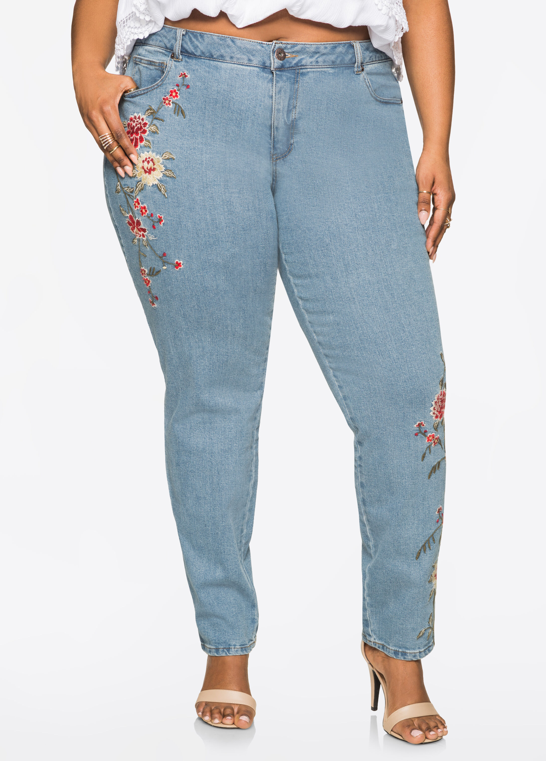 Floral Embroidered Skinny Jean Indigo - Clearance
