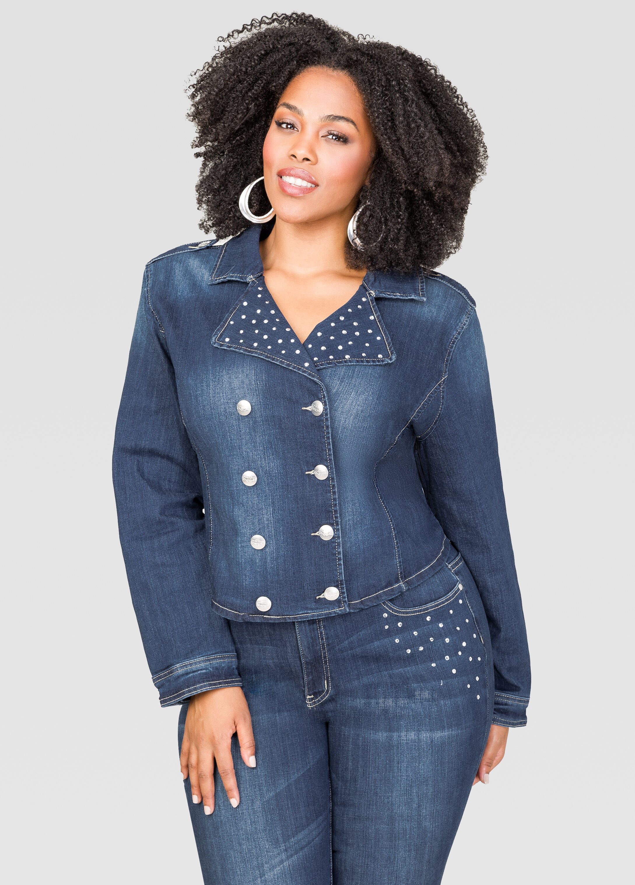 Embellished Military Jean Jacket Indigo - Clearance