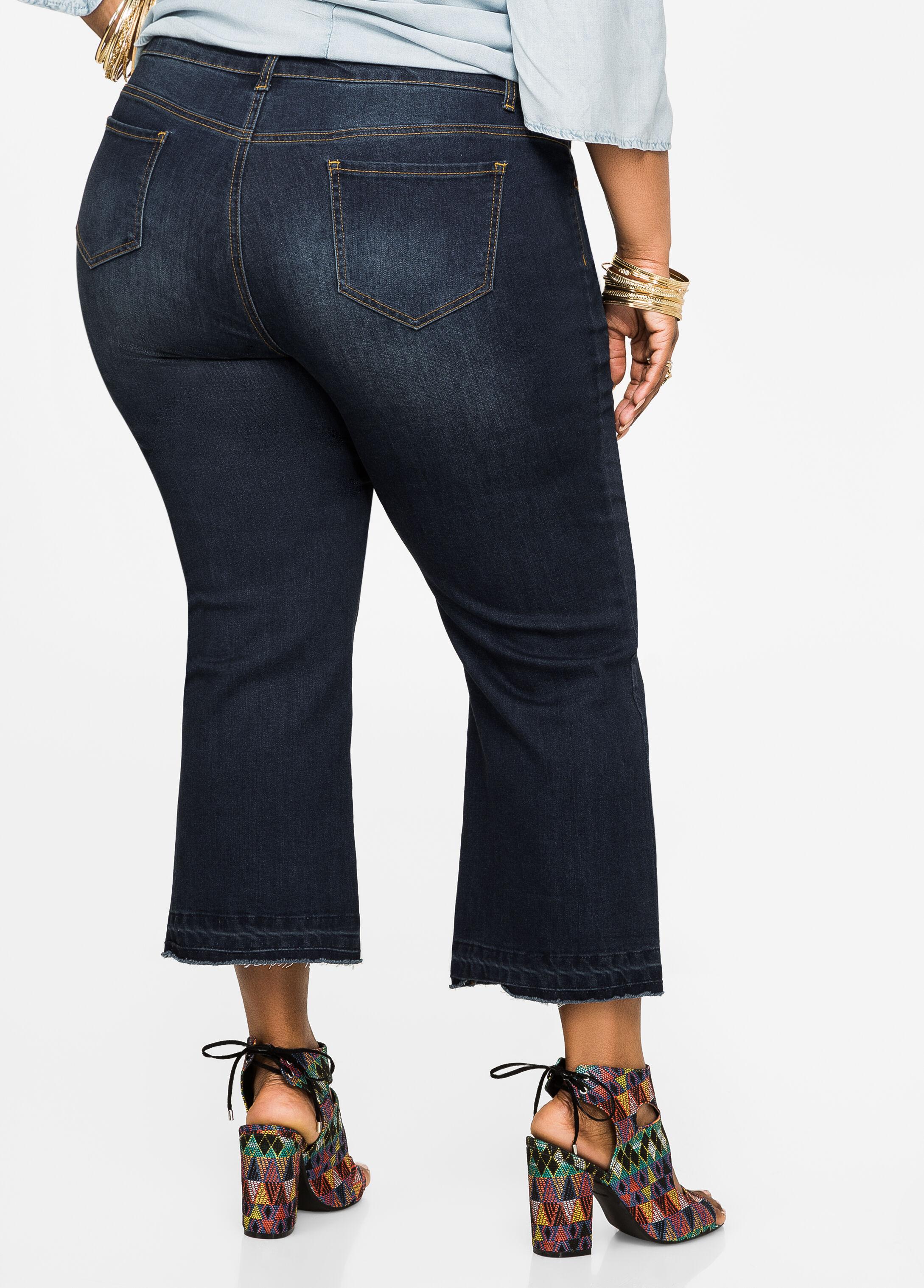 plus size jeans denim cropped kick flare jeans 034 mcl17709p as. Black Bedroom Furniture Sets. Home Design Ideas