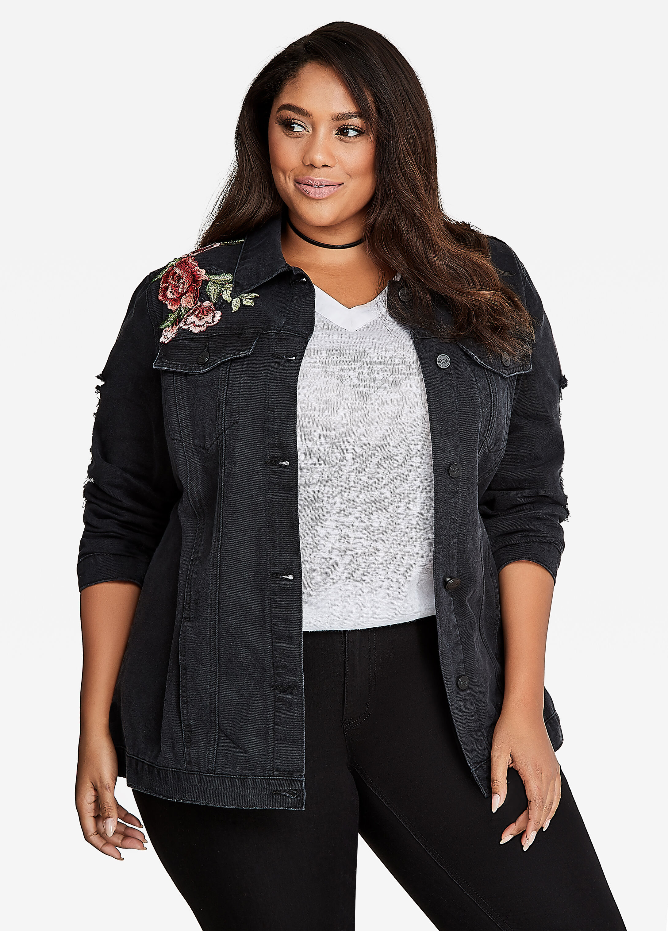 Destructed Rose Patch Jean Jacket