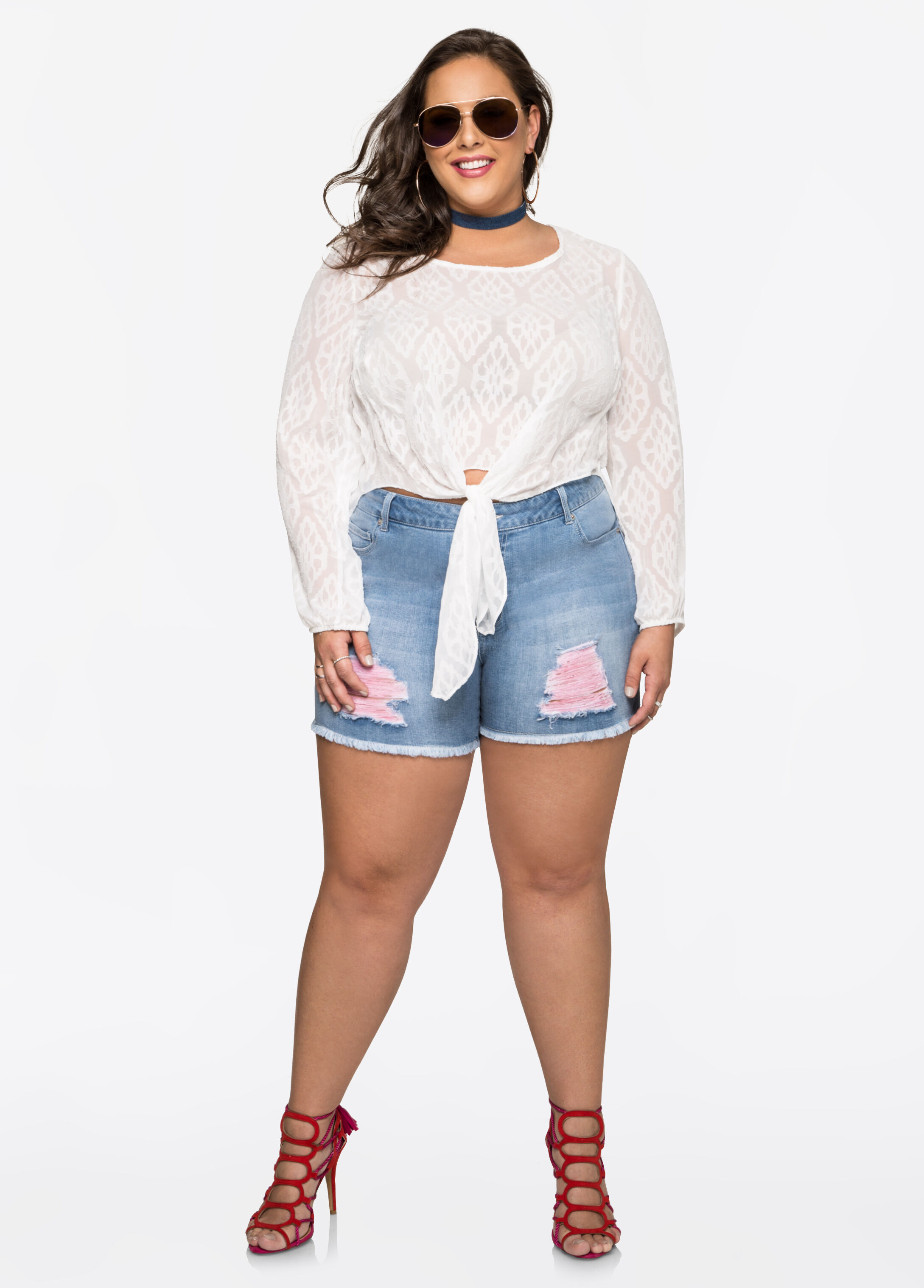 plus size jean shorts - pink thread ripped jean shorts