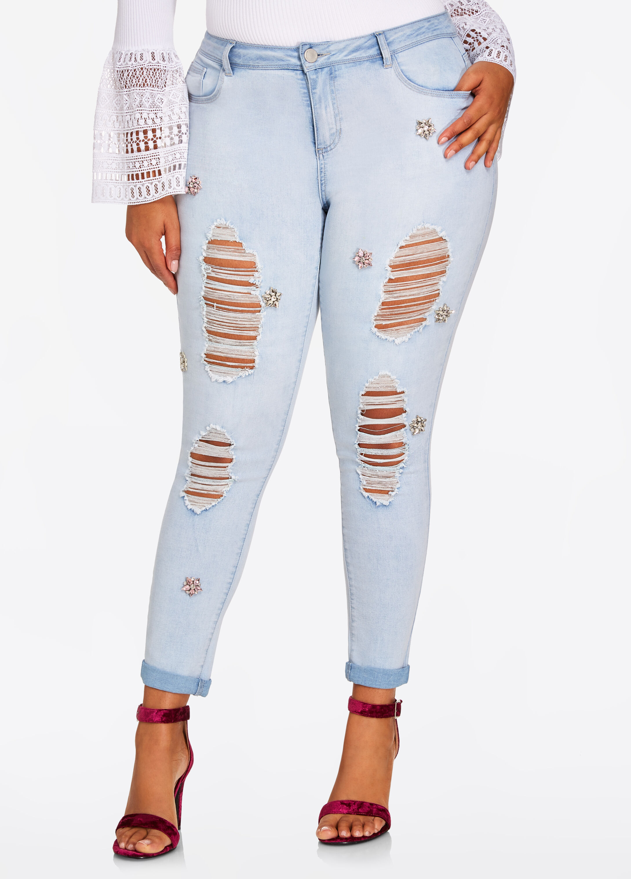 Embellished Distressed Jean