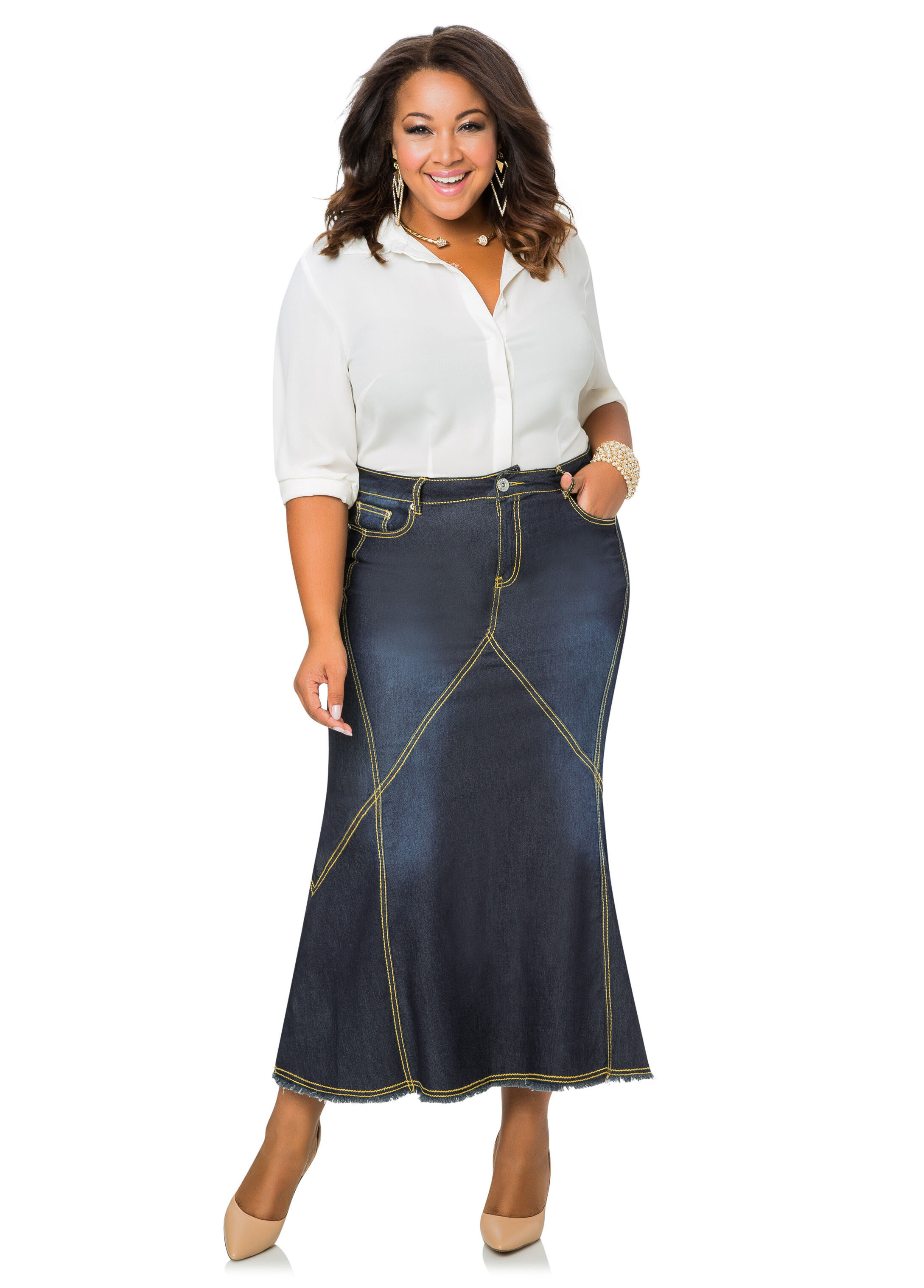 contrast stitch long denim jean skirt-plus size denim jeans-ashley
