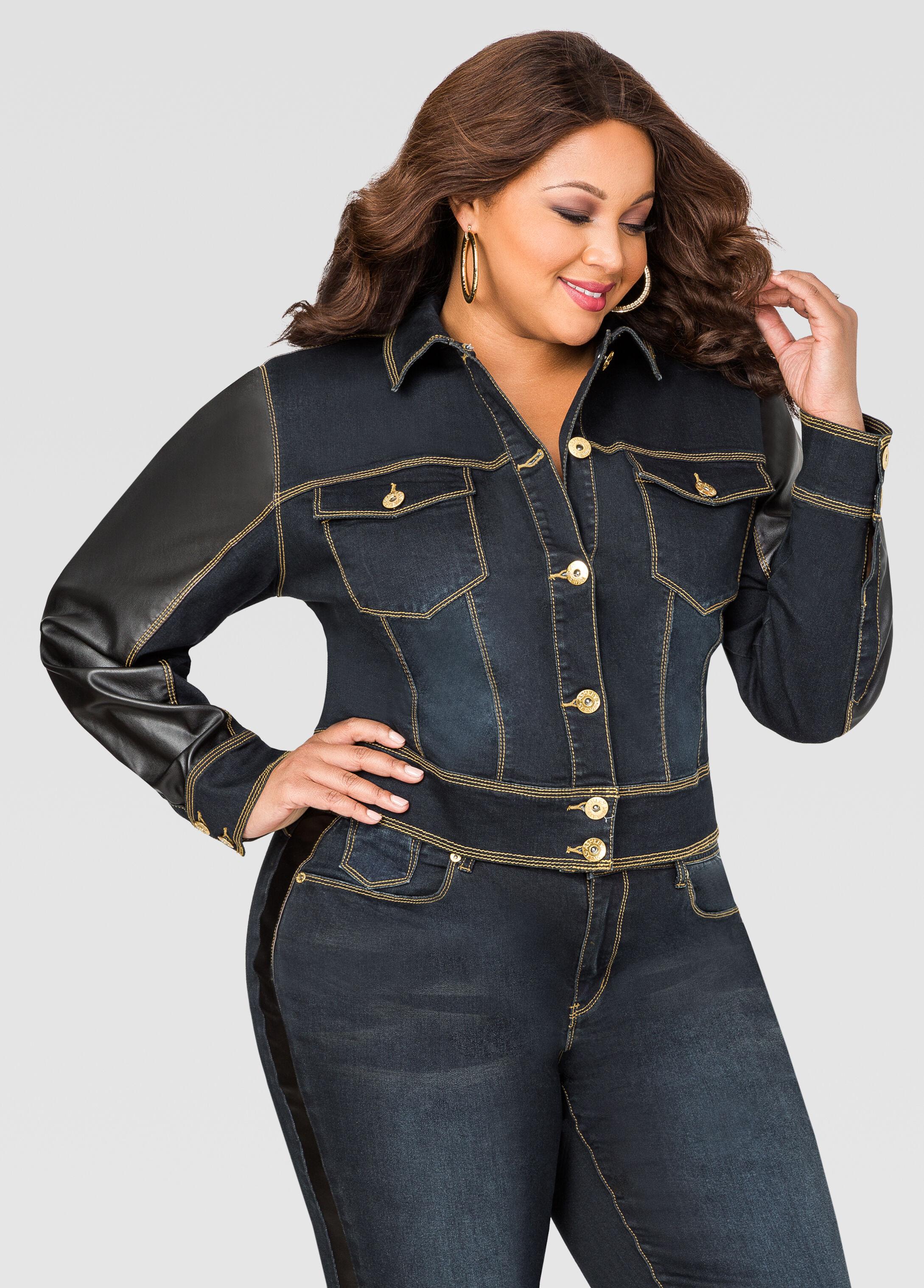 Faux Leather Trim Jean Jacket