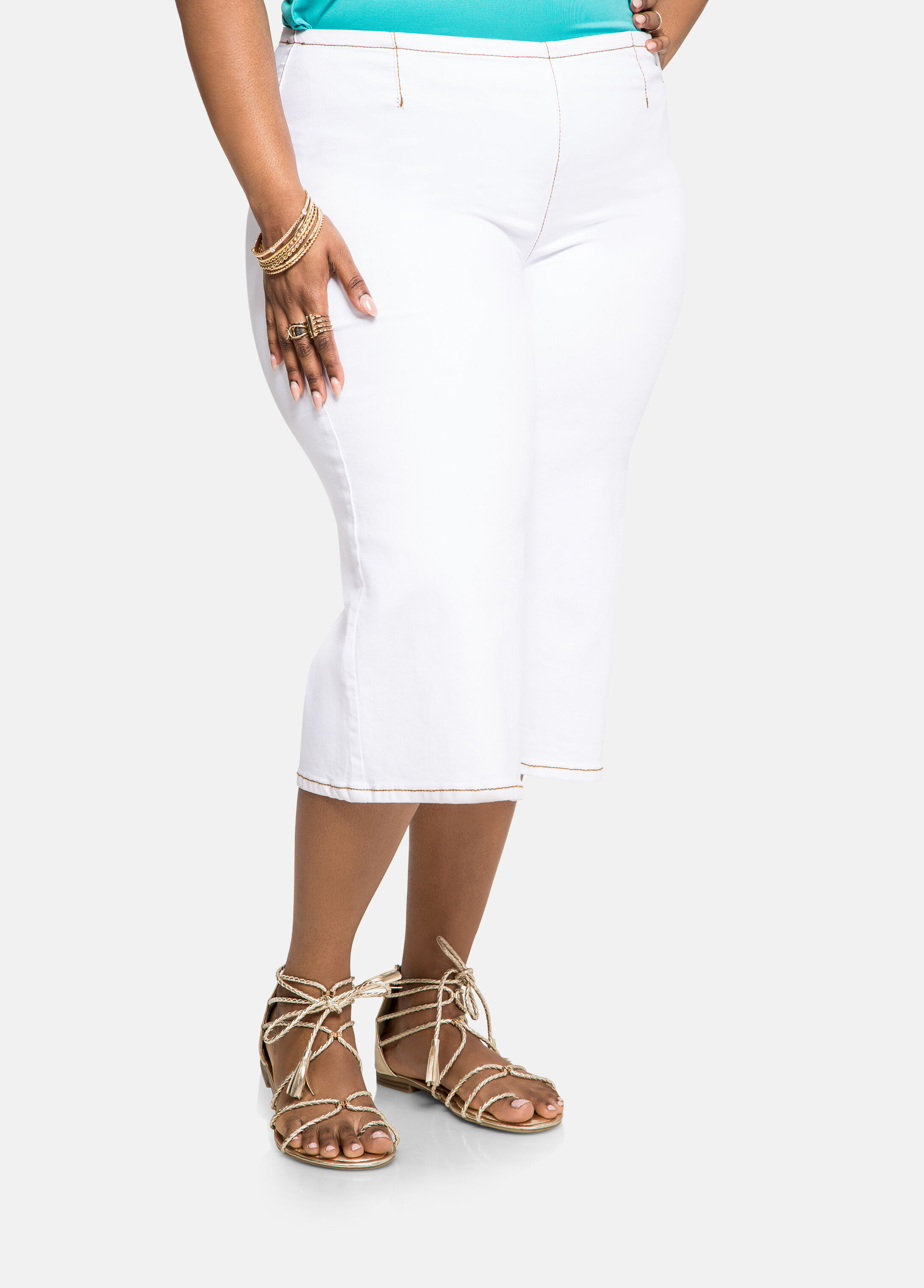 White Wide Leg Gaucho Jeans - Clearance