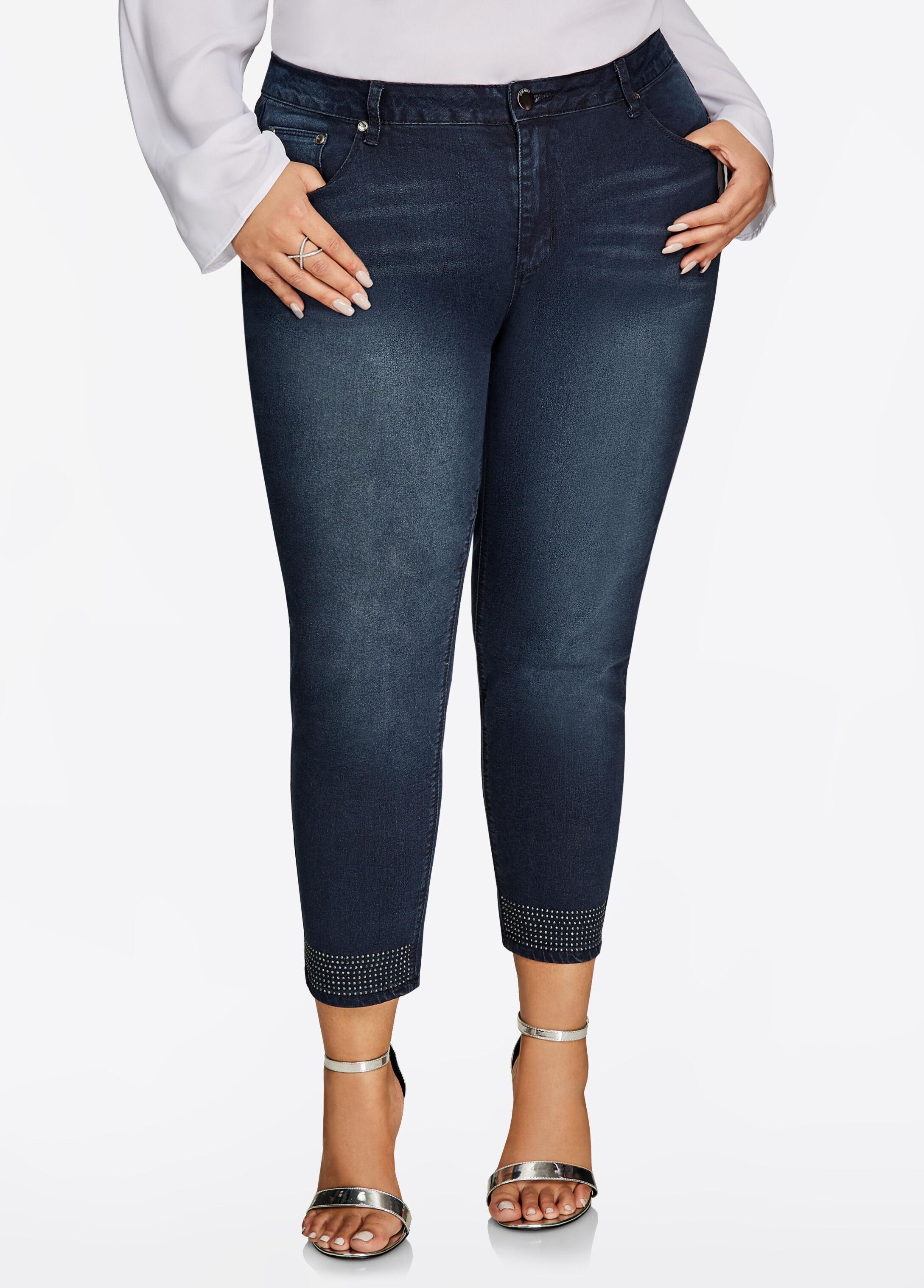 Studded Hem Ankle Skinny Jean